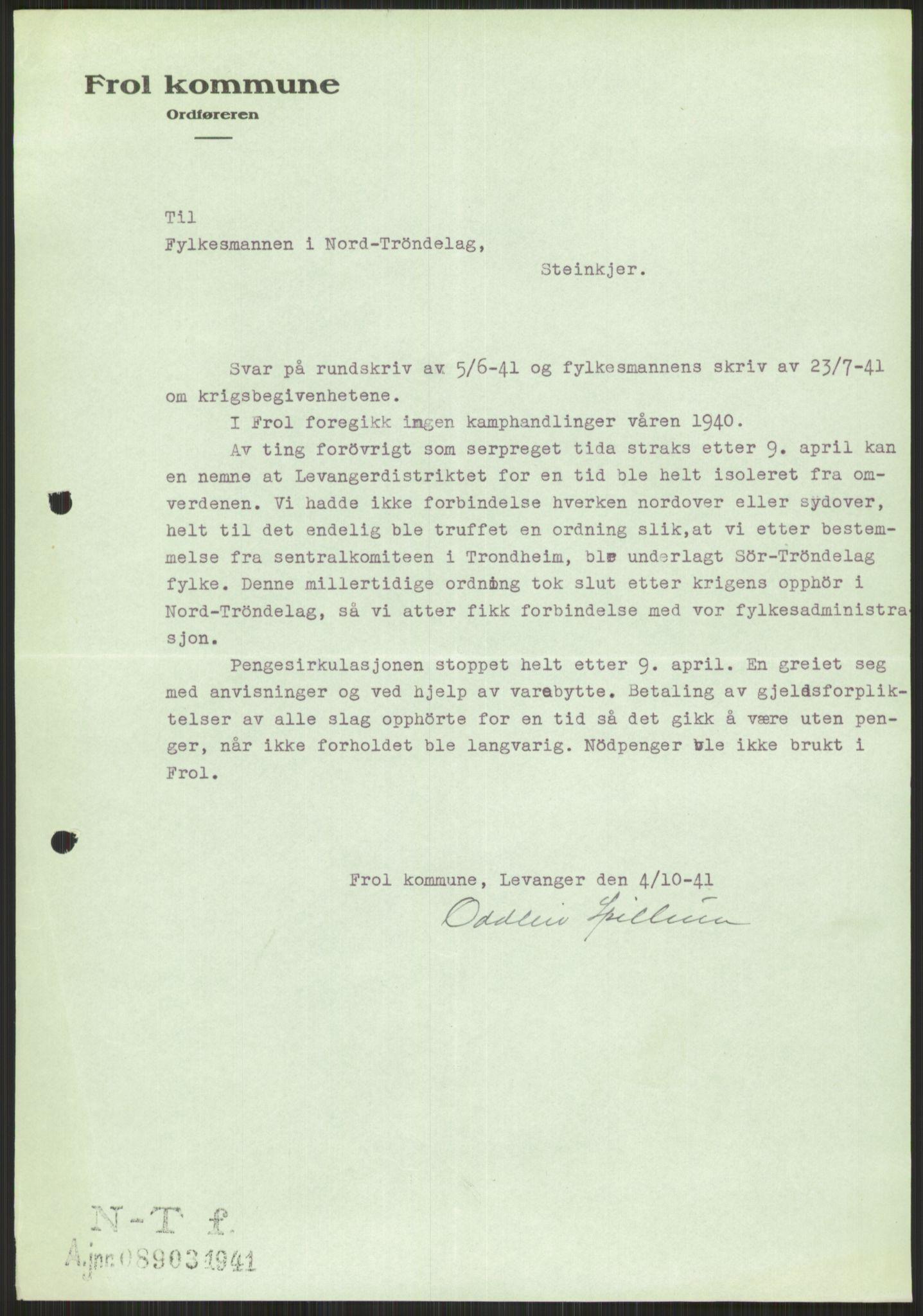 RA, Forsvaret, Forsvarets krigshistoriske avdeling, Y/Ya/L0016: II-C-11-31 - Fylkesmenn.  Rapporter om krigsbegivenhetene 1940., 1940, s. 461