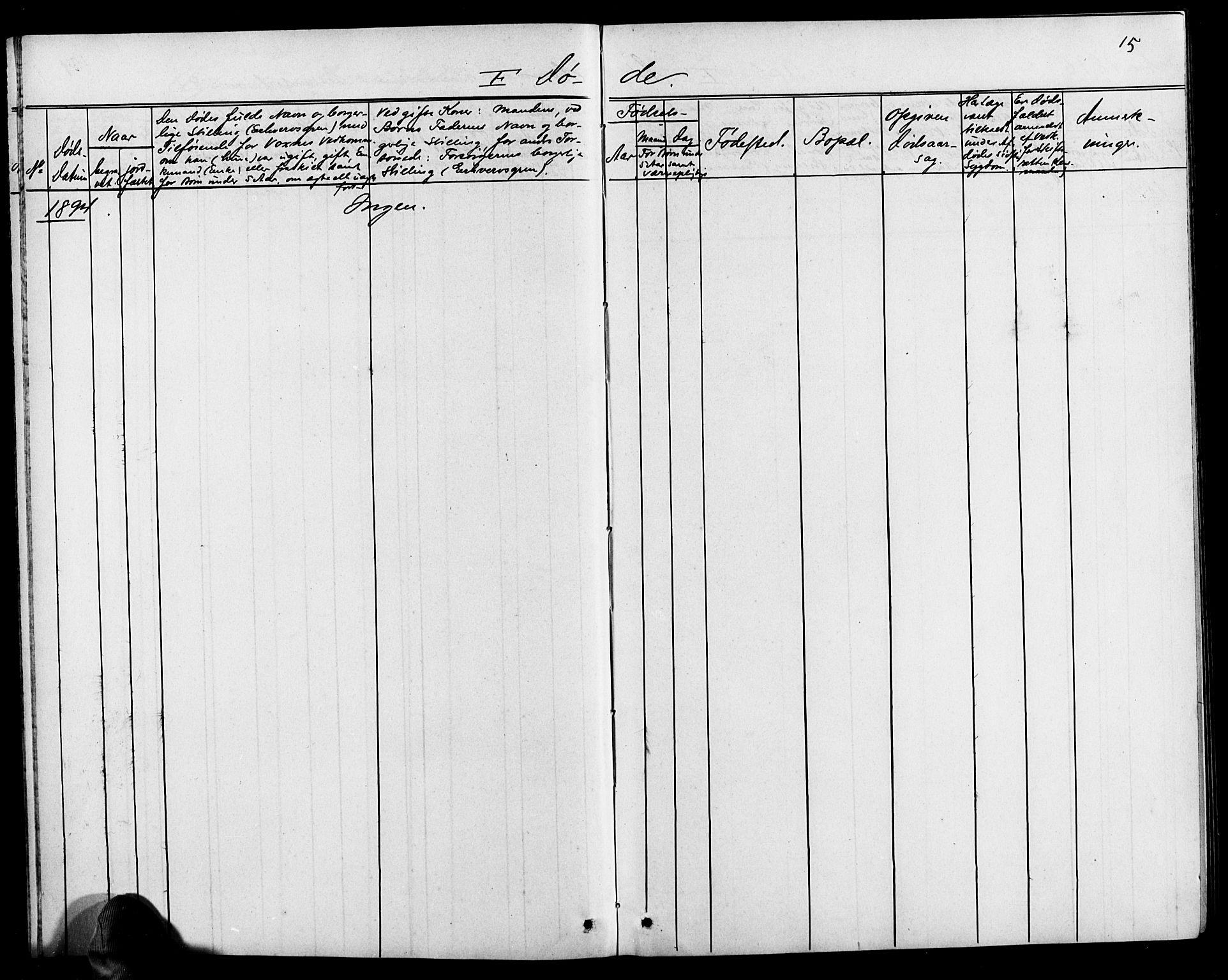 SAK, Baptistmenigheten i Tvedestrand, F/Fa/L0002: Dissenterprotokoll nr. F 1, 1892-1895, s. 15