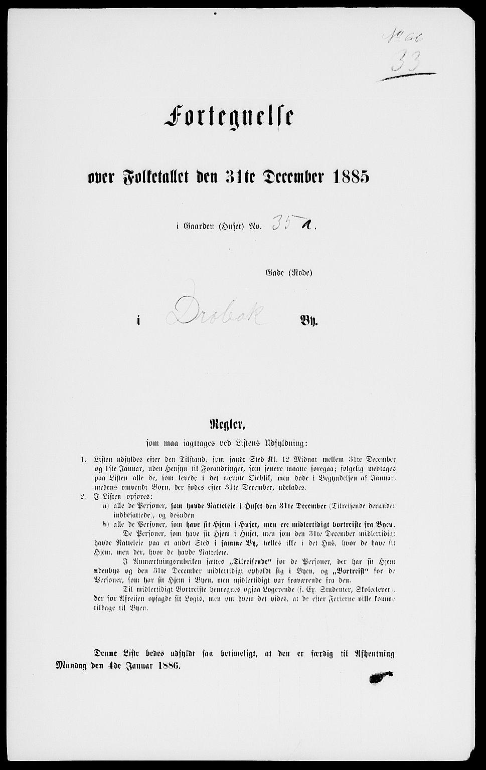 RA, Folketelling 1885 for 0203 Drøbak kjøpstad, 1885, s. 66