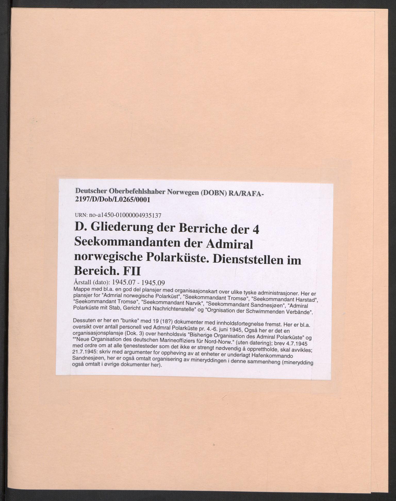 RA, Deutscher Oberbefehlshaber Norwegen (DOBN), D/Dob/L0265: ADMO Bereich Tromsø, 1945