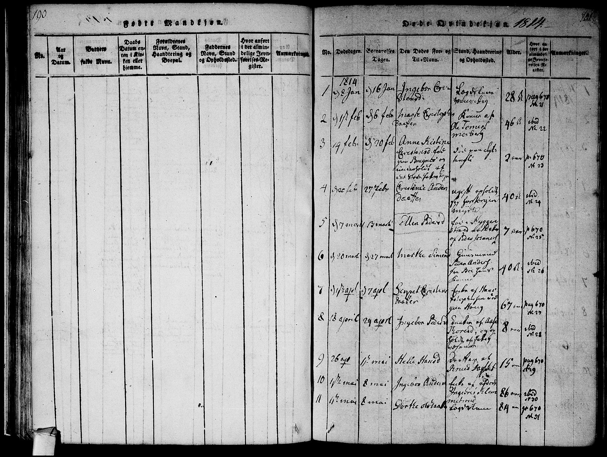 SAKO, Røyken kirkebøker, F/Fa/L0004: Ministerialbok nr. 4, 1814-1832, s. 190-191