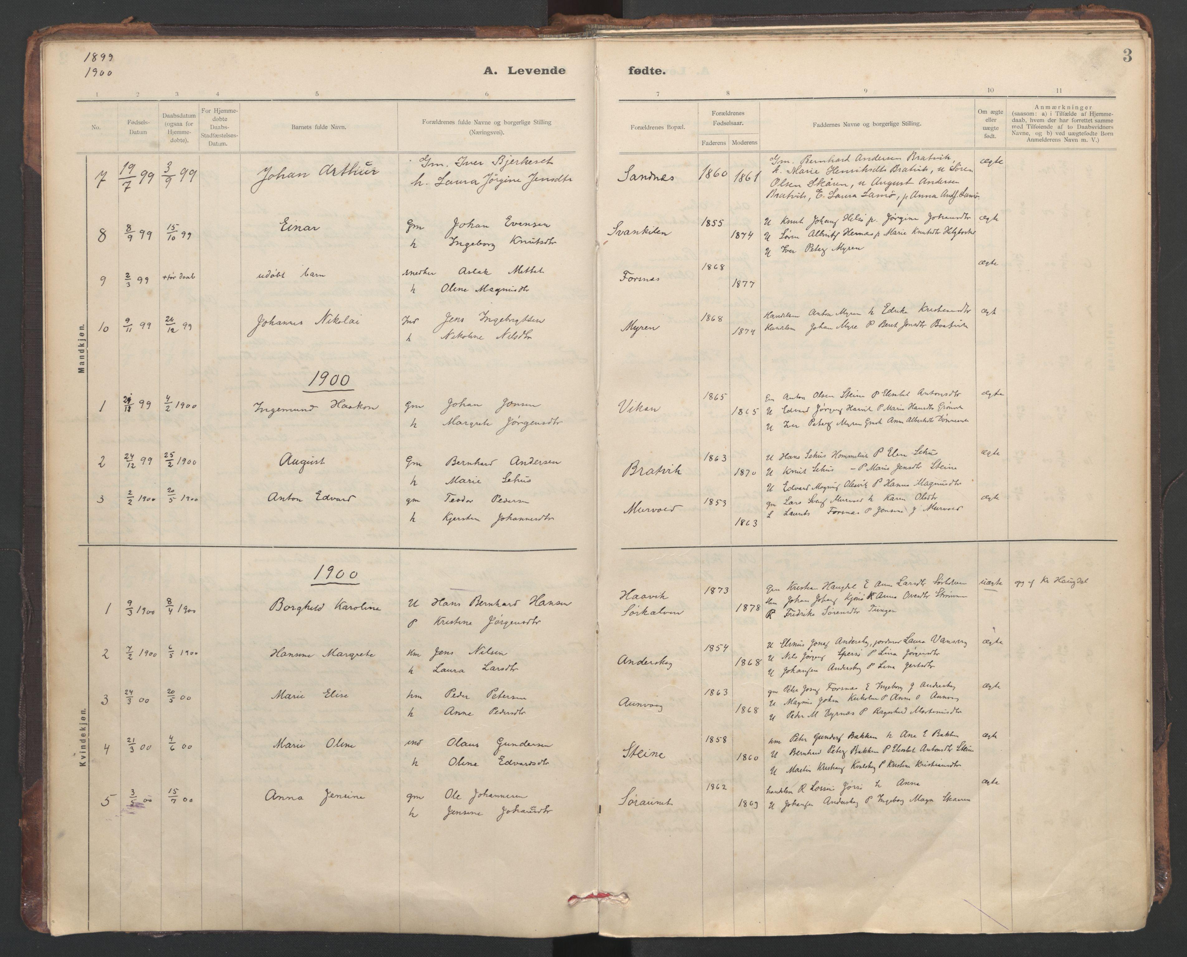SAT, Ministerialprotokoller, klokkerbøker og fødselsregistre - Sør-Trøndelag, 635/L0552: Ministerialbok nr. 635A02, 1899-1919, s. 3