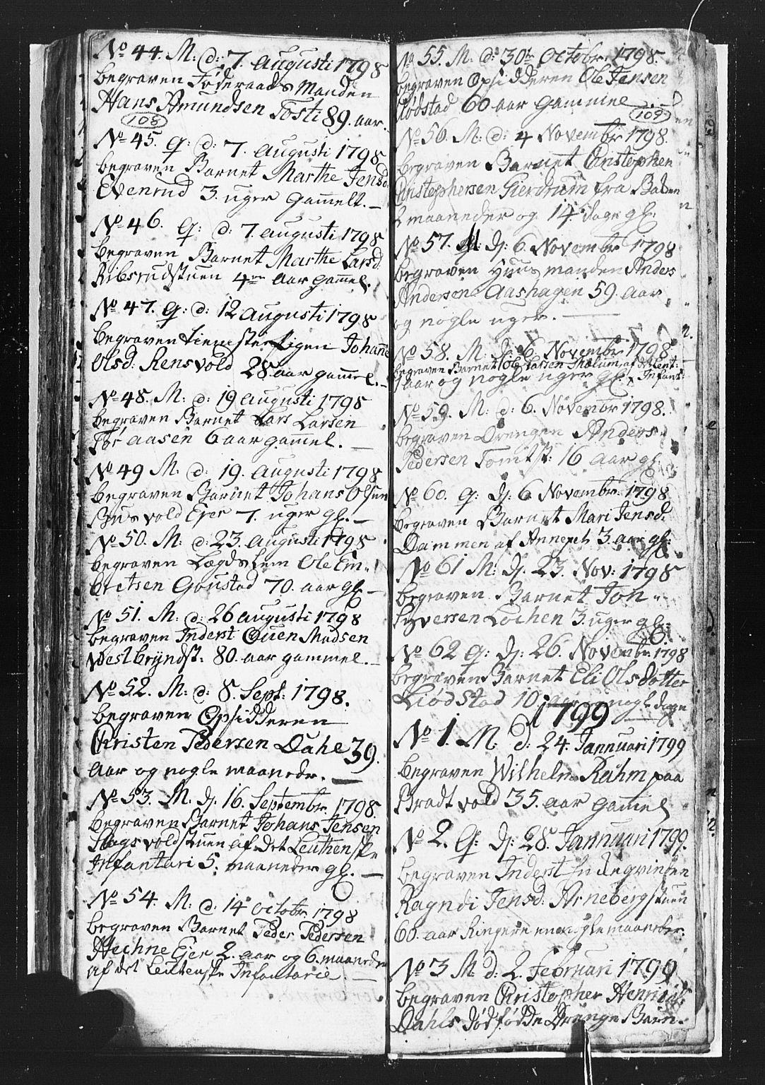 SAH, Romedal prestekontor, L/L0002: Klokkerbok nr. 2, 1795-1800, s. 108-109