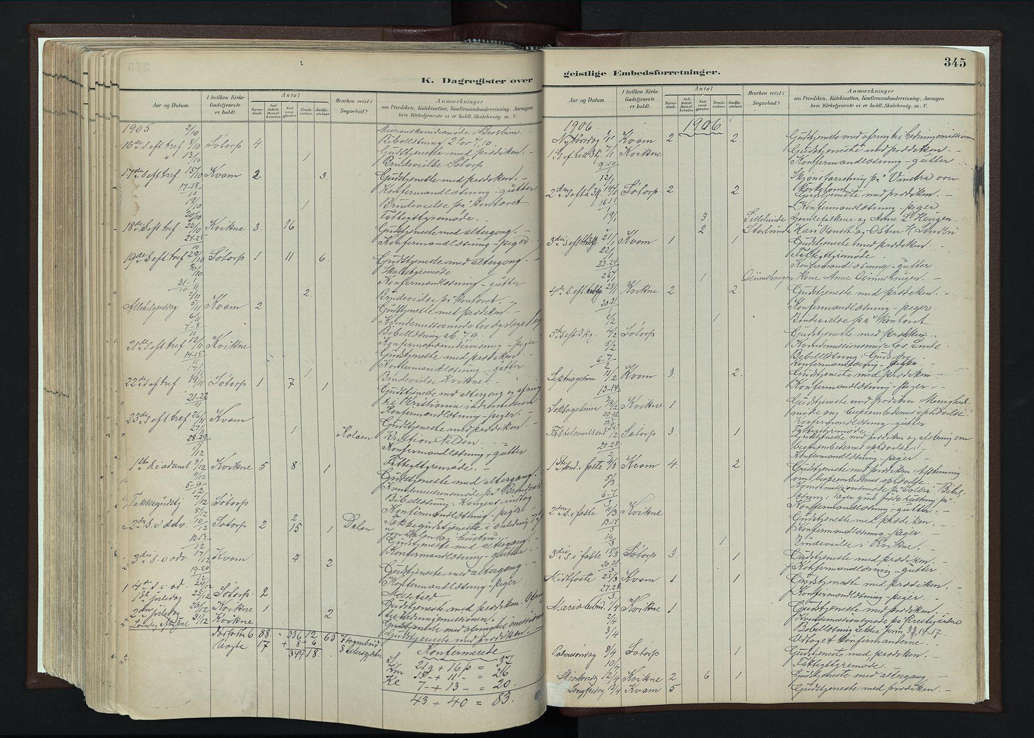 SAH, Nord-Fron prestekontor, Ministerialbok nr. 4, 1884-1914, s. 345
