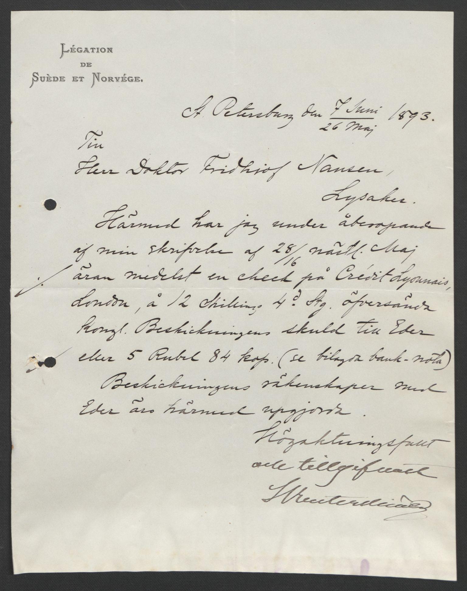 RA, Arbeidskomitéen for Fridtjof Nansens polarekspedisjon, D/L0003: Innk. brev og telegrammer vedr. proviant og utrustning, 1893, s. 327