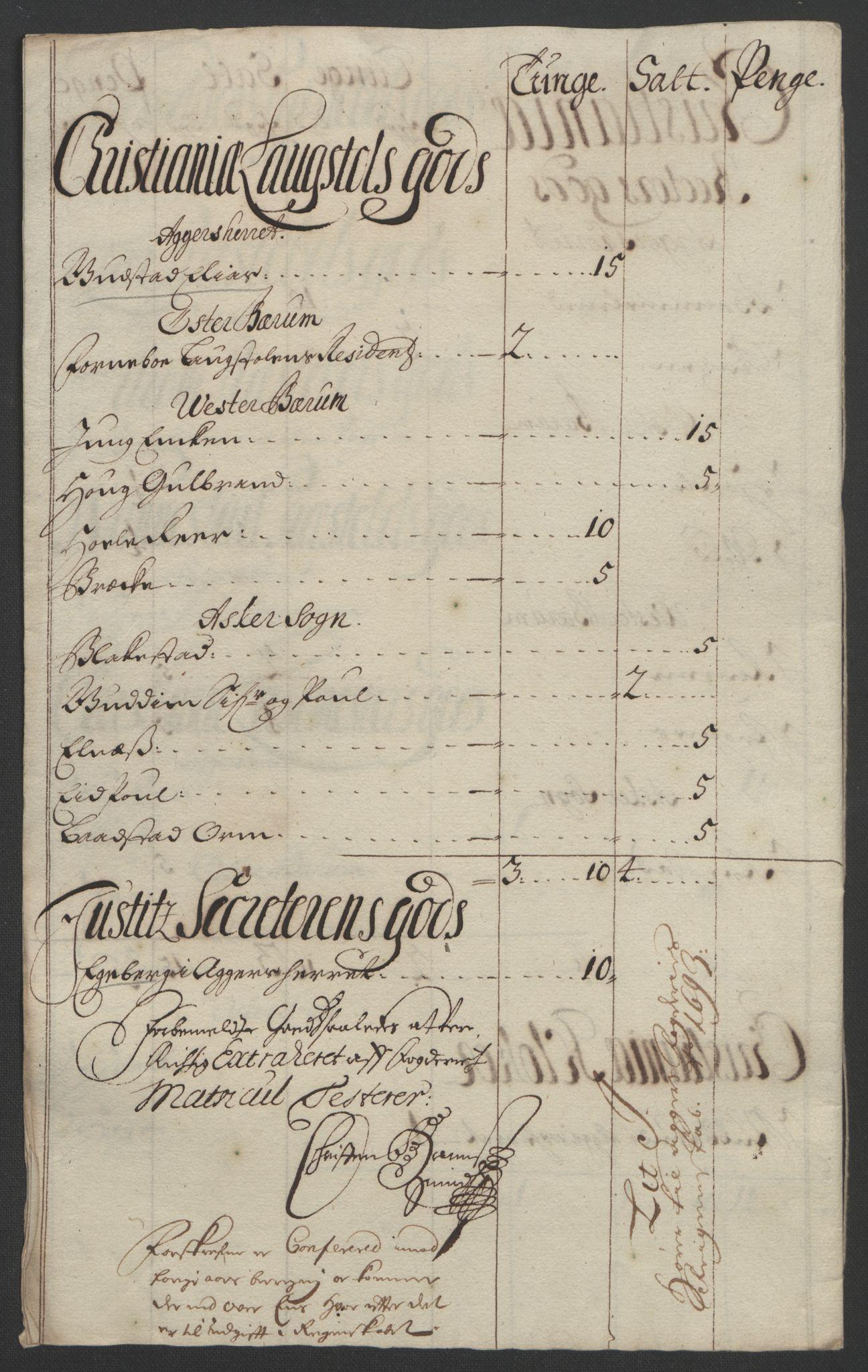 RA, Rentekammeret inntil 1814, Reviderte regnskaper, Fogderegnskap, R08/L0426: Fogderegnskap Aker, 1692-1693, s. 362