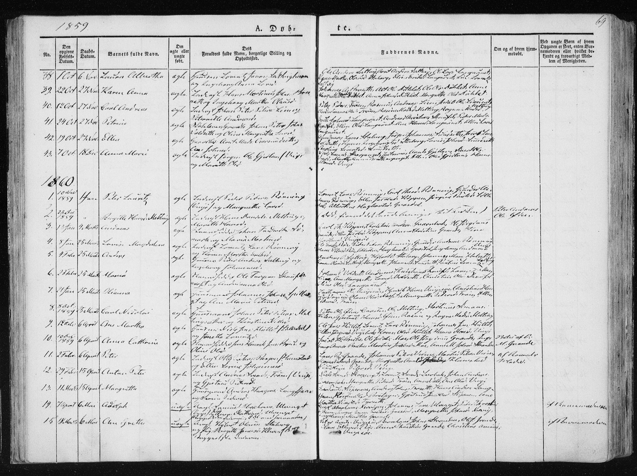 SAT, Ministerialprotokoller, klokkerbøker og fødselsregistre - Nord-Trøndelag, 733/L0323: Ministerialbok nr. 733A02, 1843-1870, s. 69