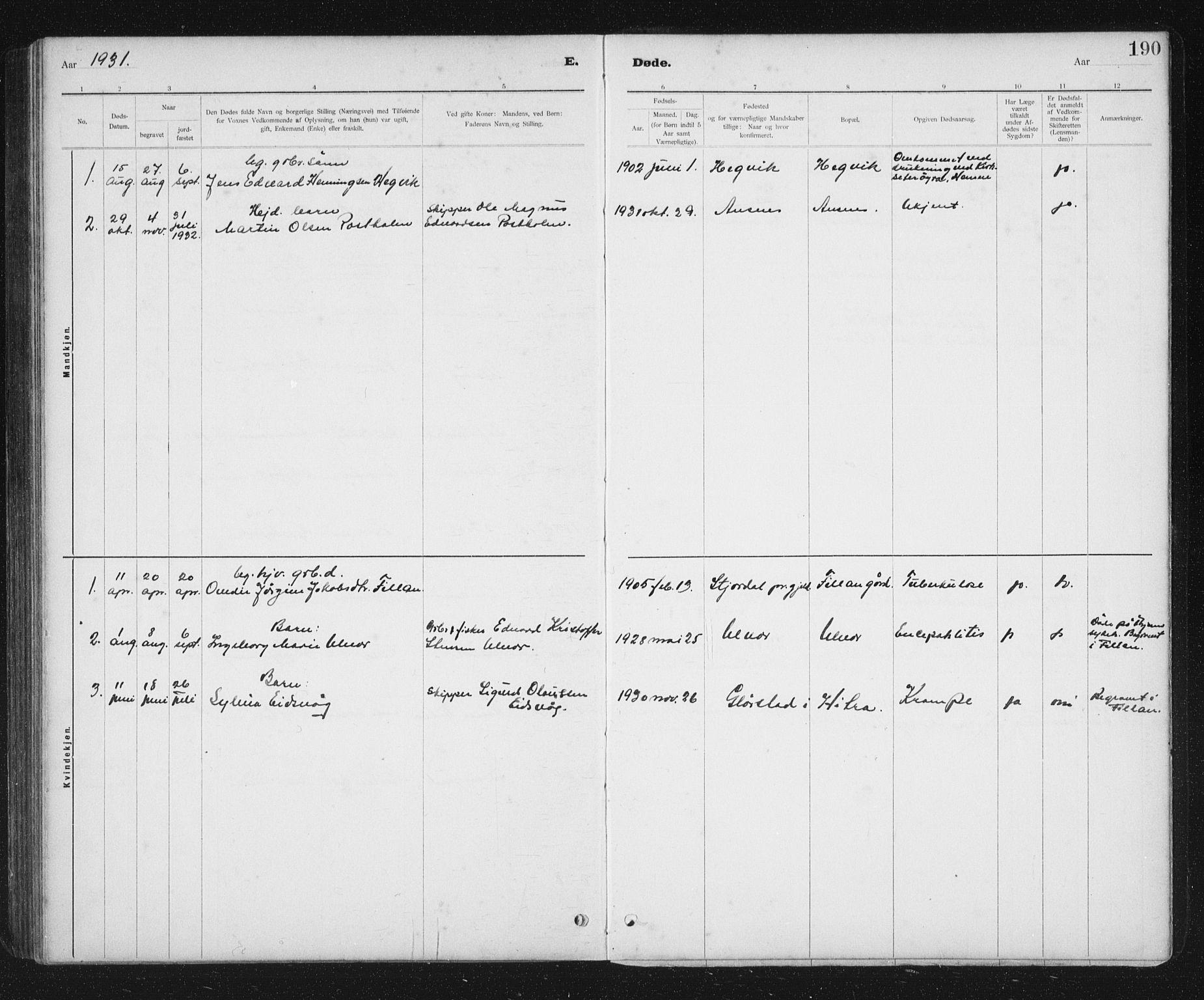 SAT, Ministerialprotokoller, klokkerbøker og fødselsregistre - Sør-Trøndelag, 637/L0563: Klokkerbok nr. 637C04, 1899-1940, s. 190