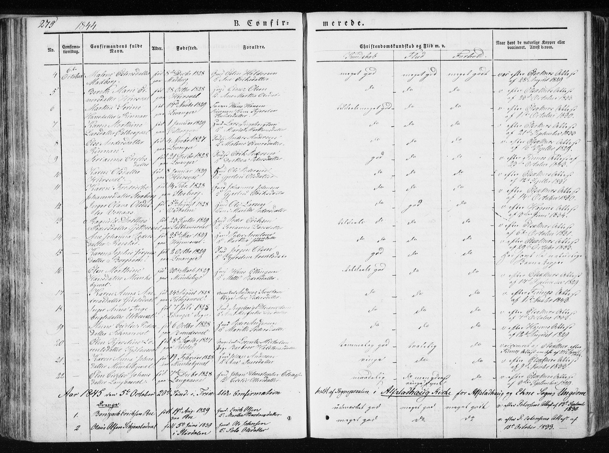 SAT, Ministerialprotokoller, klokkerbøker og fødselsregistre - Nord-Trøndelag, 717/L0154: Ministerialbok nr. 717A06 /1, 1836-1849, s. 275