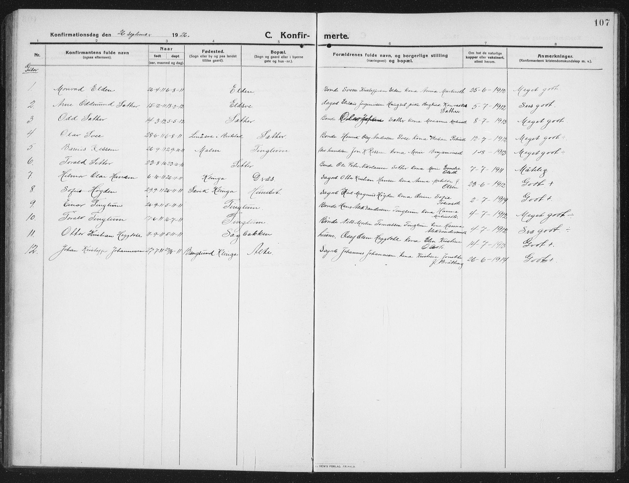 SAT, Ministerialprotokoller, klokkerbøker og fødselsregistre - Nord-Trøndelag, 742/L0413: Klokkerbok nr. 742C04, 1911-1938, s. 107