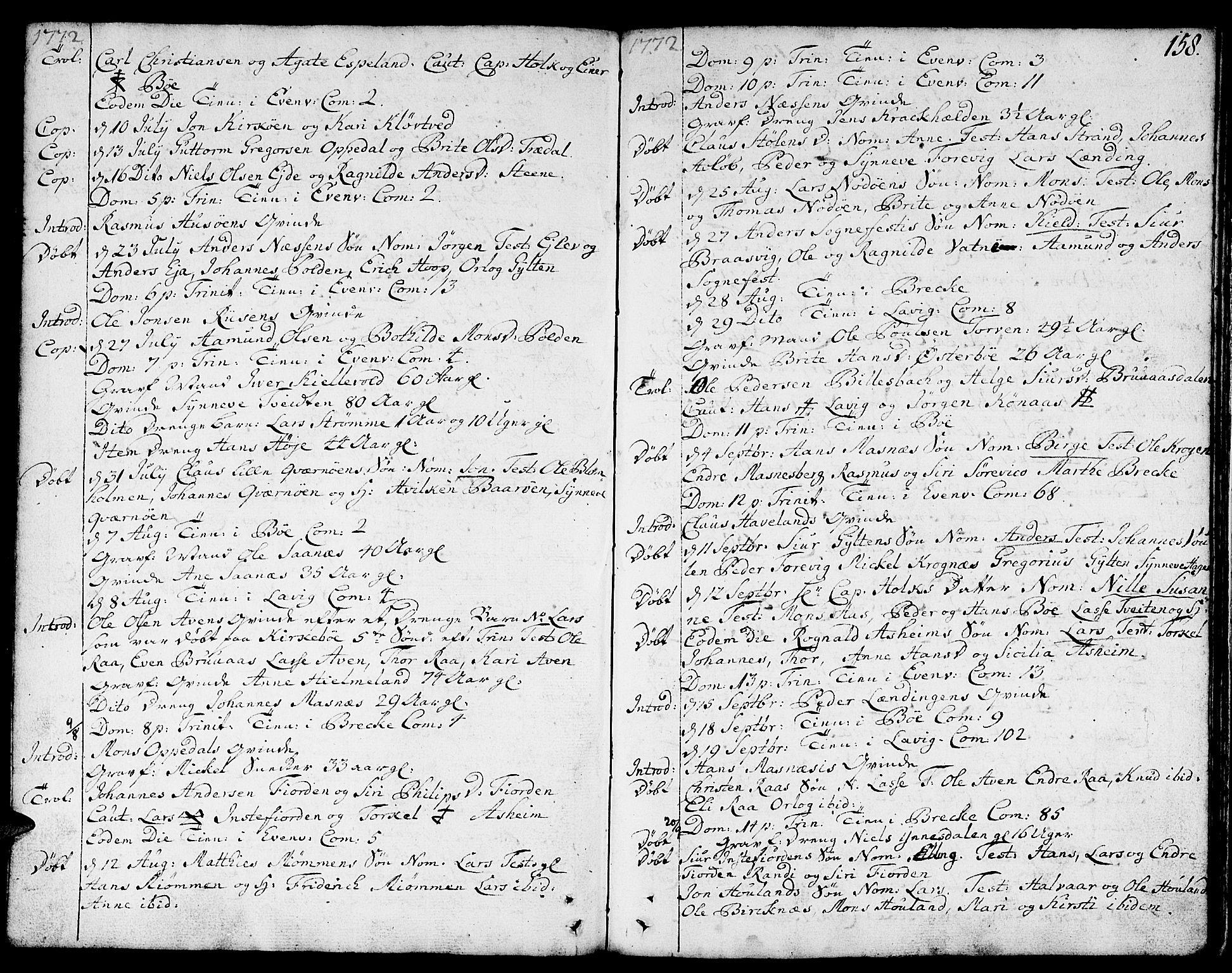 SAB, Gulen sokneprestembete, Ministerialbok nr. A 12, 1749-1776, s. 158