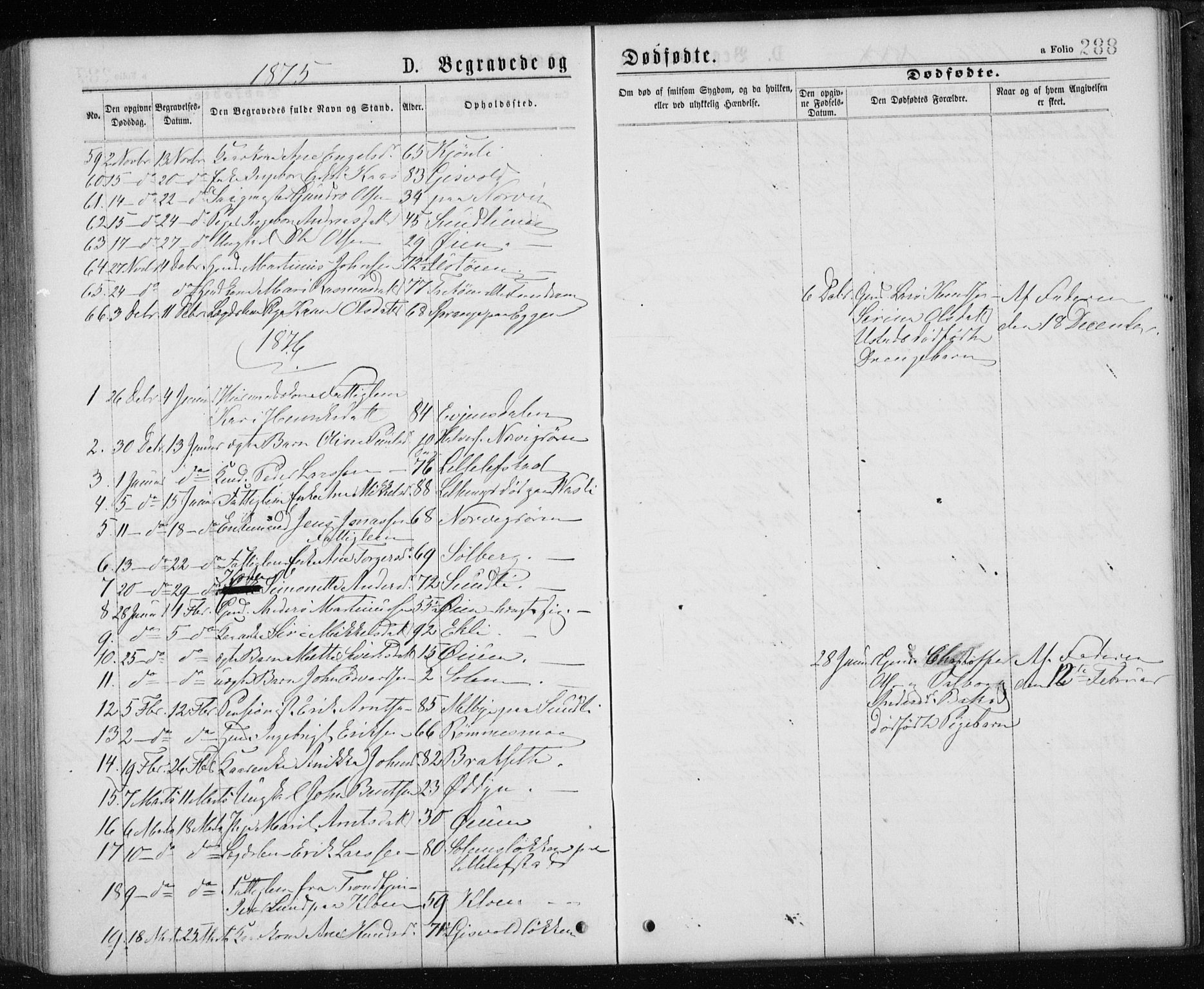 SAT, Ministerialprotokoller, klokkerbøker og fødselsregistre - Sør-Trøndelag, 668/L0817: Klokkerbok nr. 668C06, 1873-1884, s. 288