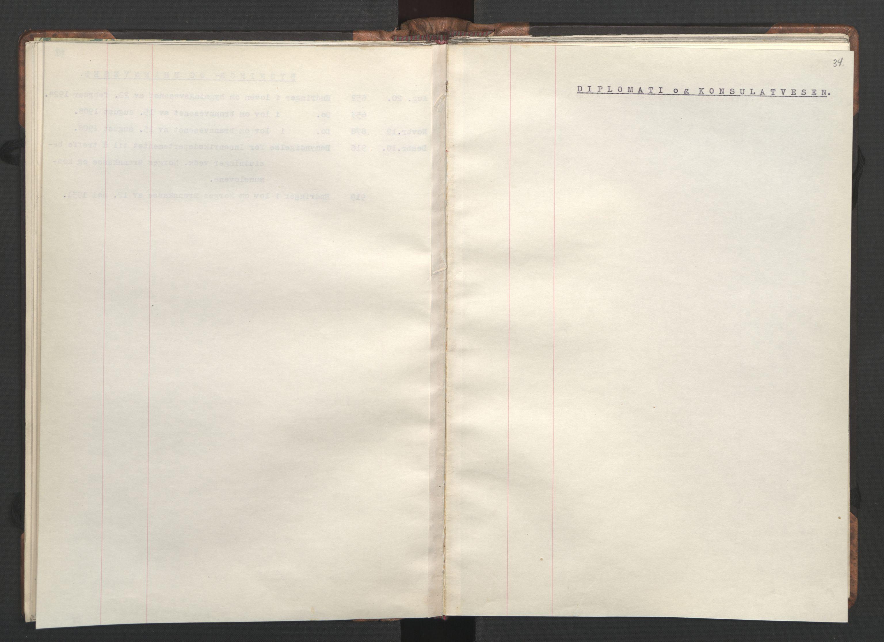 RA, NS-administrasjonen 1940-1945 (Statsrådsekretariatet, de kommisariske statsråder mm), D/Da/L0002: Register (RA j.nr. 985/1943, tilgangsnr. 17/1943), 1942, s. 33b-34a