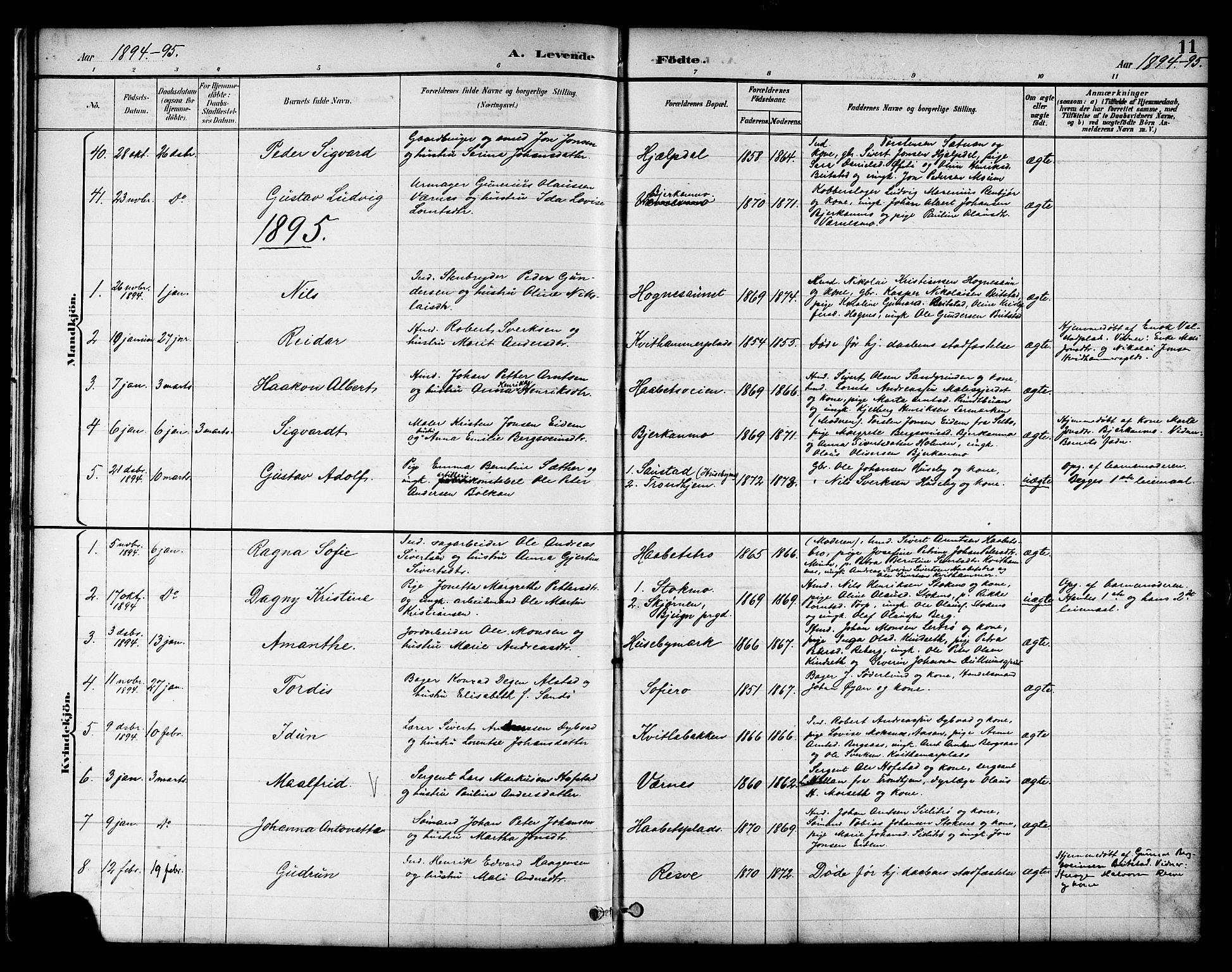 SAT, Ministerialprotokoller, klokkerbøker og fødselsregistre - Nord-Trøndelag, 709/L0087: Klokkerbok nr. 709C01, 1892-1913, s. 11