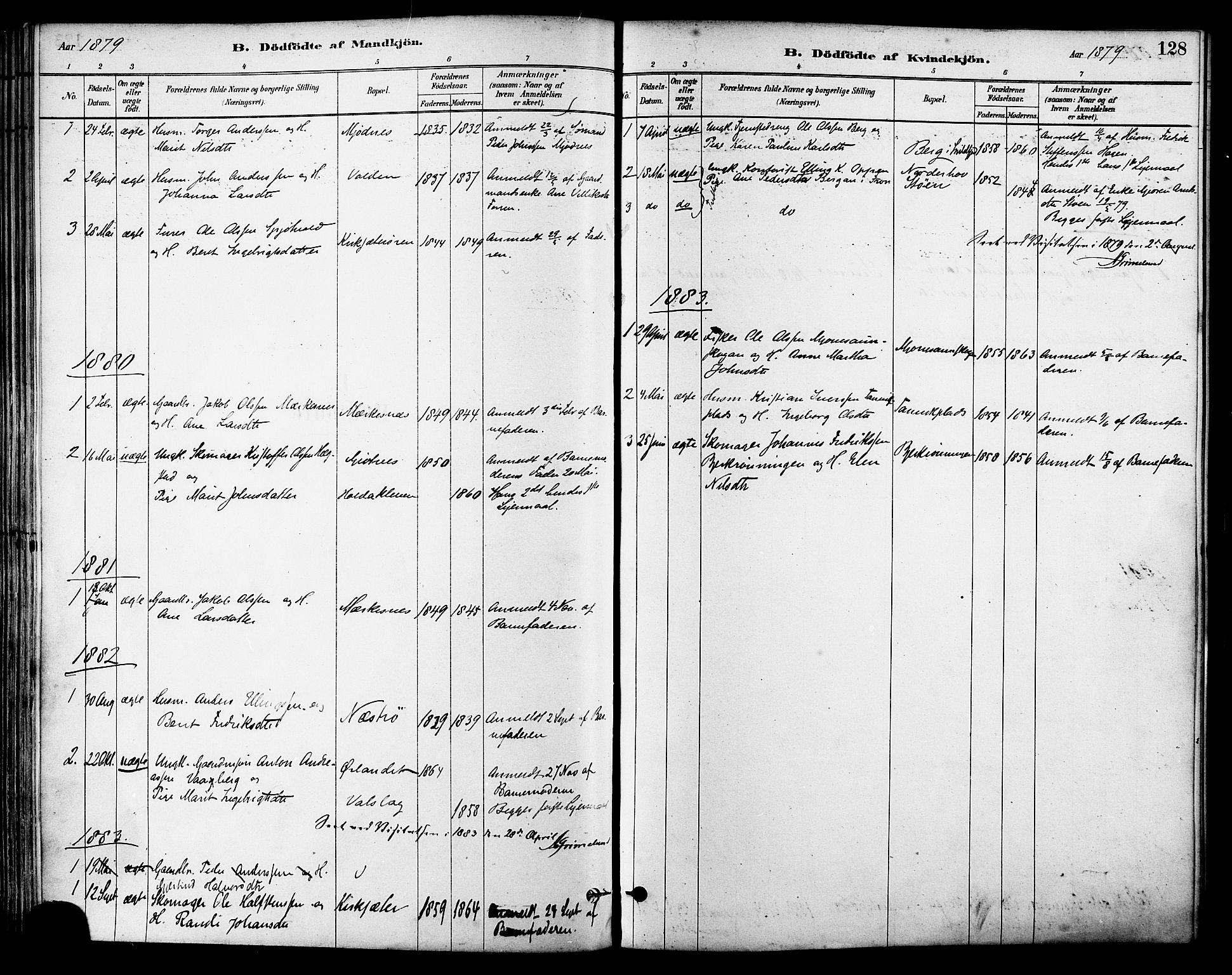 SAT, Ministerialprotokoller, klokkerbøker og fødselsregistre - Sør-Trøndelag, 630/L0496: Ministerialbok nr. 630A09, 1879-1895, s. 128