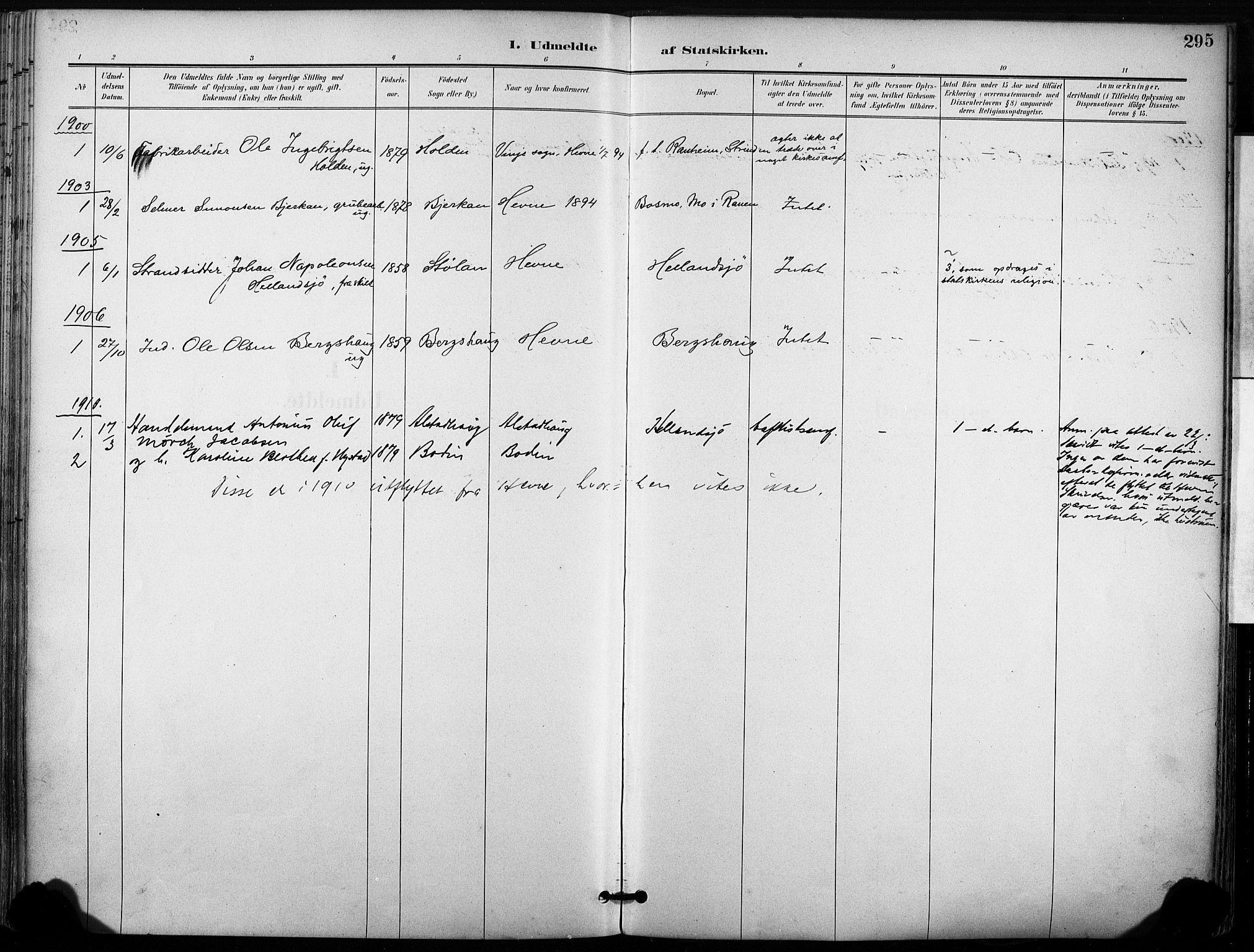 SAT, Ministerialprotokoller, klokkerbøker og fødselsregistre - Sør-Trøndelag, 630/L0497: Ministerialbok nr. 630A10, 1896-1910, s. 295