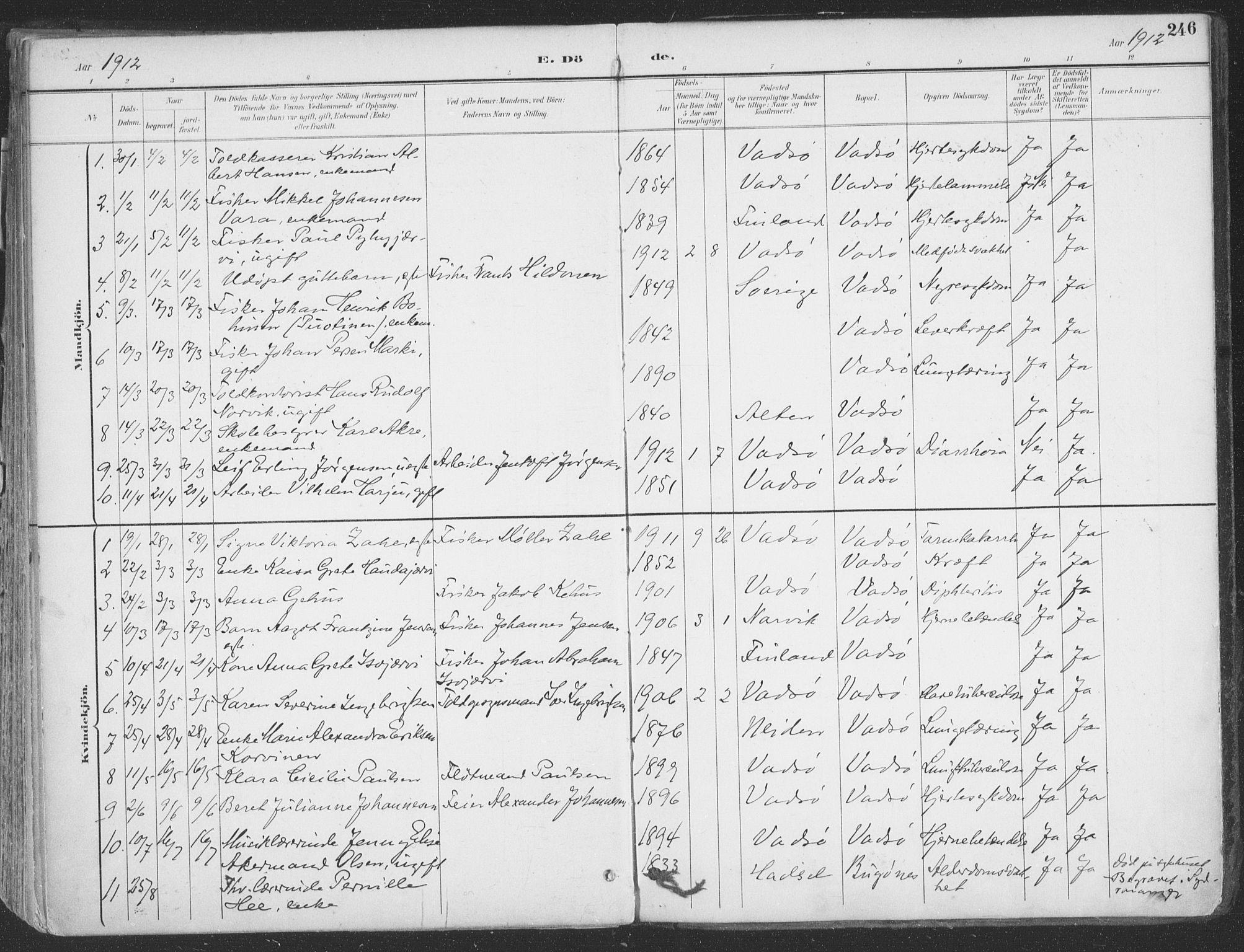 SATØ, Vadsø sokneprestkontor, H/Ha/L0007kirke: Ministerialbok nr. 7, 1896-1916, s. 246