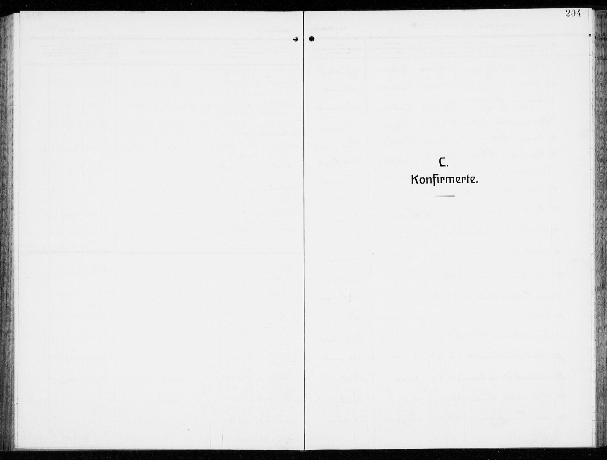 SAO, Kråkerøy prestekontor Kirkebøker, G/Ga/L0001: Klokkerbok nr. 1, 1908-1944, s. 204