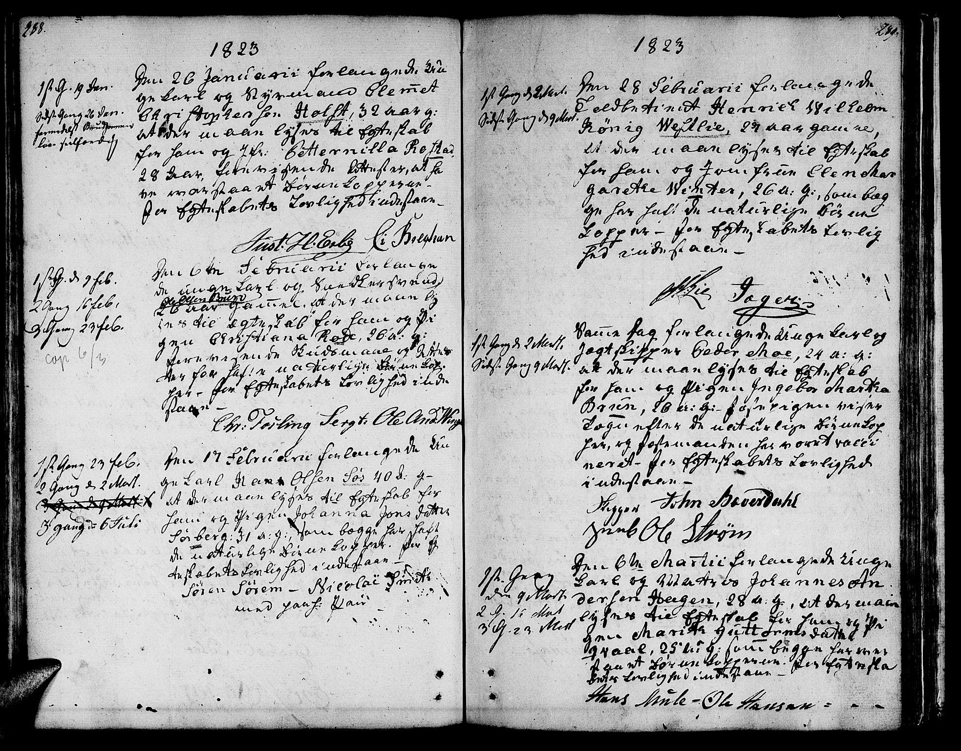 SAT, Ministerialprotokoller, klokkerbøker og fødselsregistre - Sør-Trøndelag, 601/L0042: Ministerialbok nr. 601A10, 1802-1830, s. 288-289