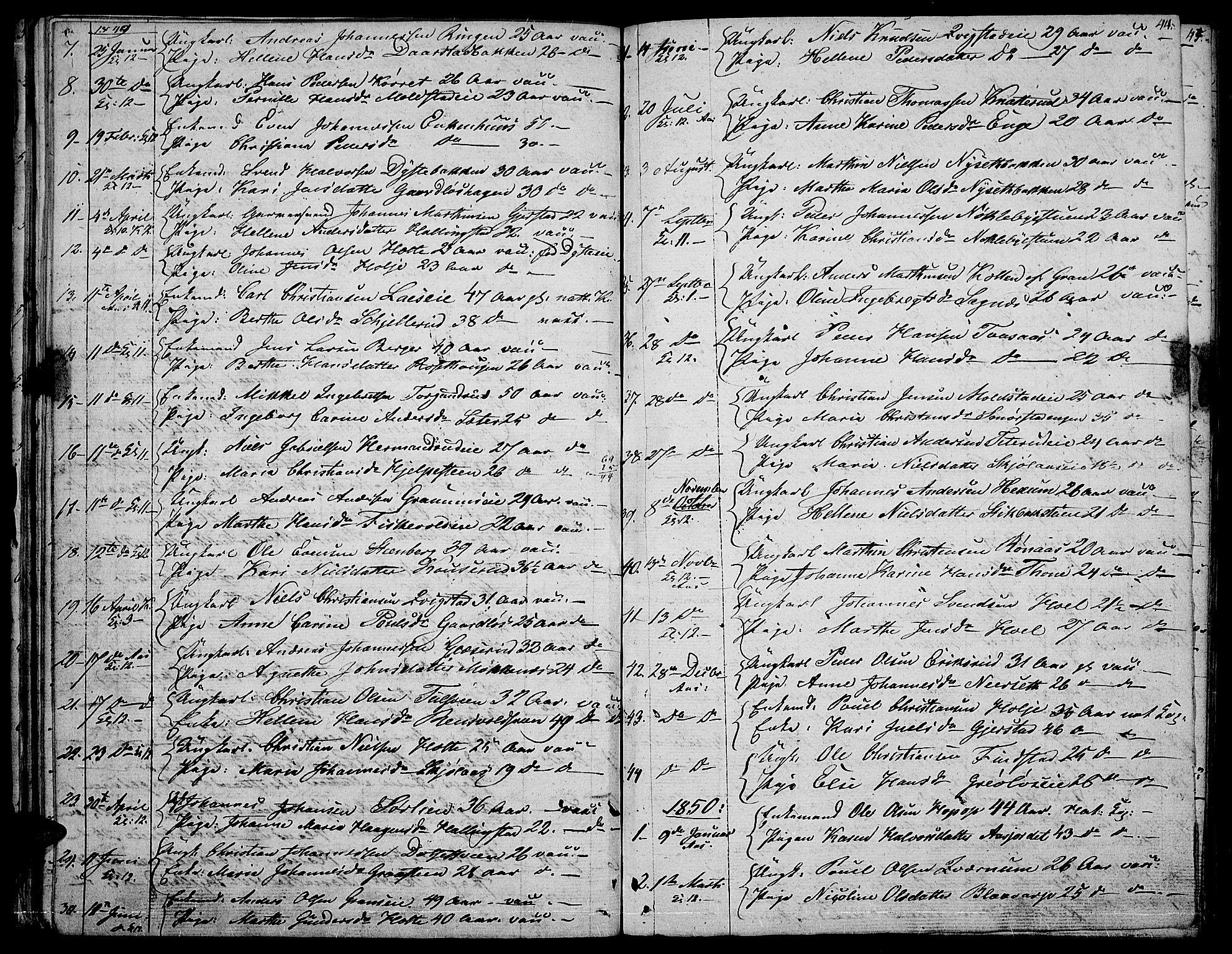SAH, Vestre Toten prestekontor, H/Ha/Hab/L0003: Klokkerbok nr. 3, 1846-1854, s. 44