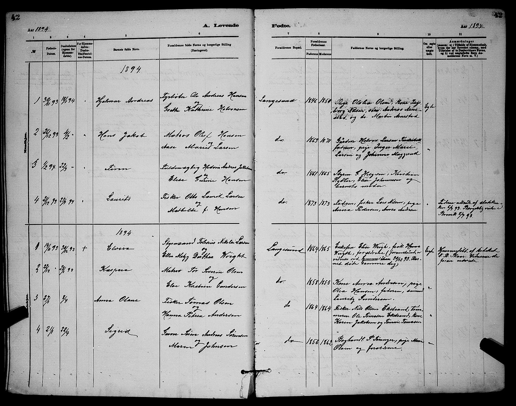 SAKO, Langesund kirkebøker, G/Ga/L0005: Klokkerbok nr. 5, 1884-1898, s. 42