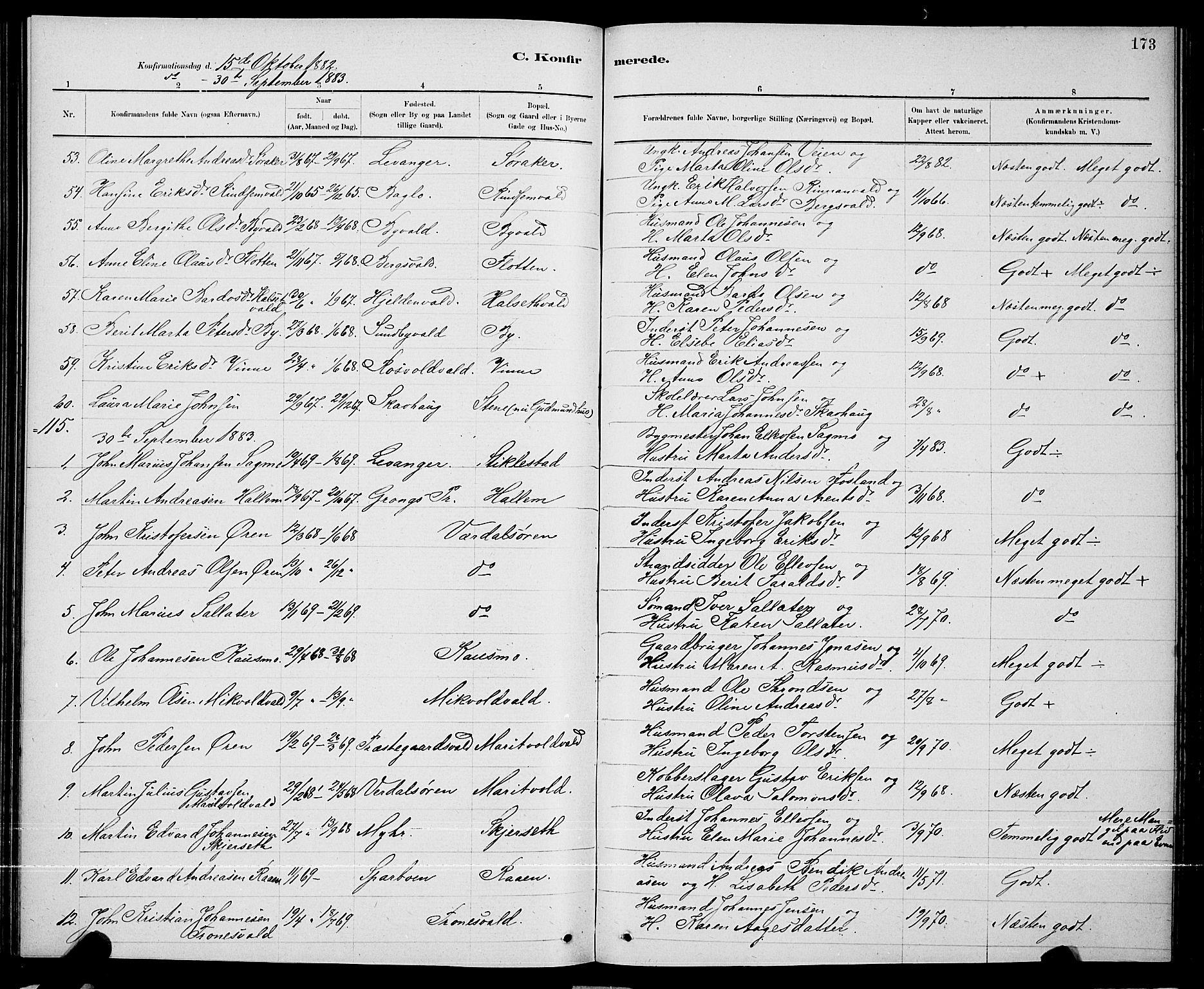 SAT, Ministerialprotokoller, klokkerbøker og fødselsregistre - Nord-Trøndelag, 723/L0256: Klokkerbok nr. 723C04, 1879-1890, s. 173