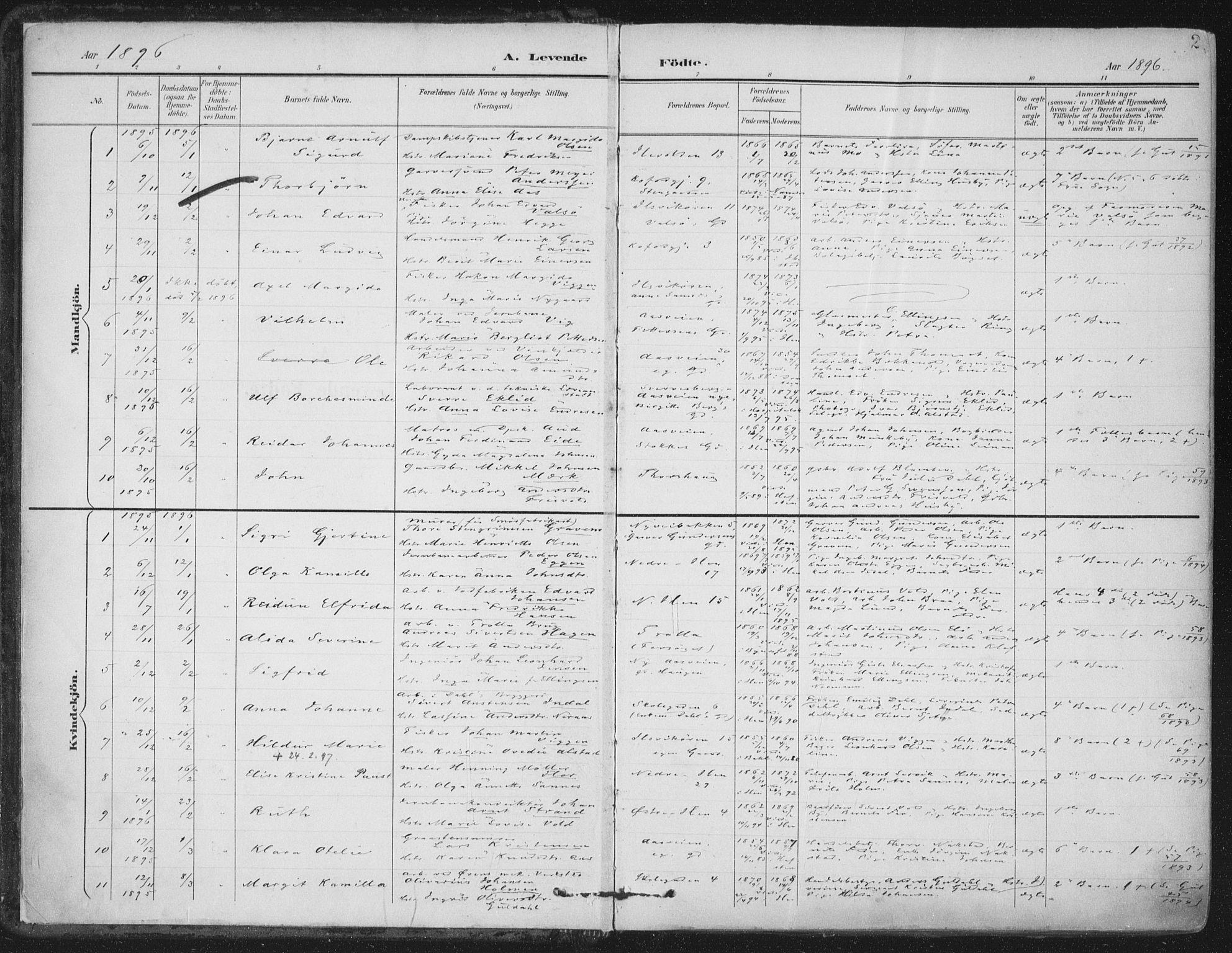 SAT, Ministerialprotokoller, klokkerbøker og fødselsregistre - Sør-Trøndelag, 603/L0167: Ministerialbok nr. 603A06, 1896-1932, s. 2