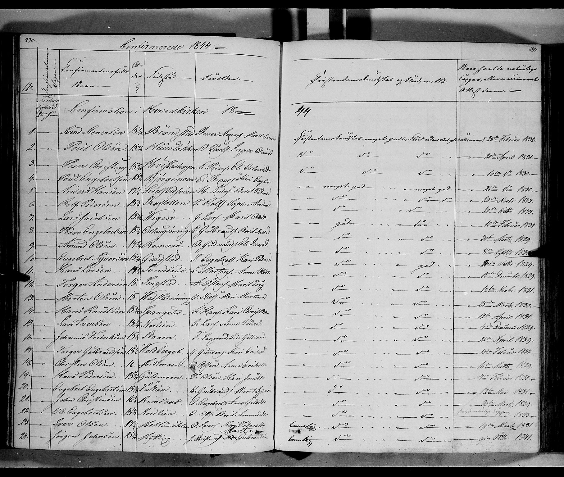 SAH, Ringebu prestekontor, Ministerialbok nr. 5, 1839-1848, s. 290-291