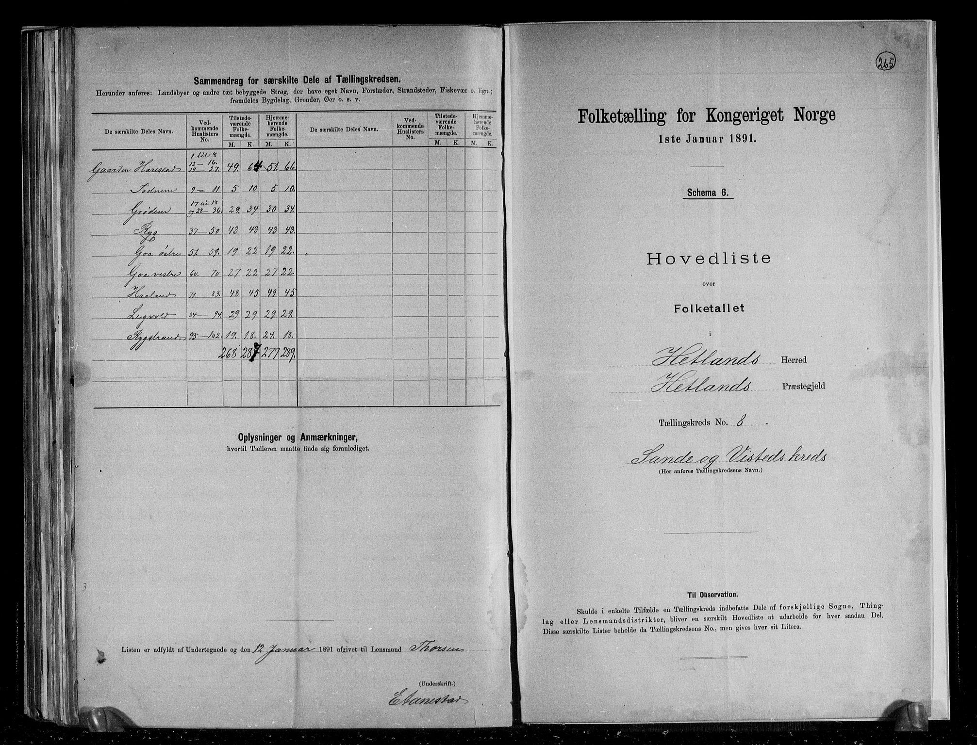 RA, Folketelling 1891 for 1126 Hetland herred, 1891, s. 22