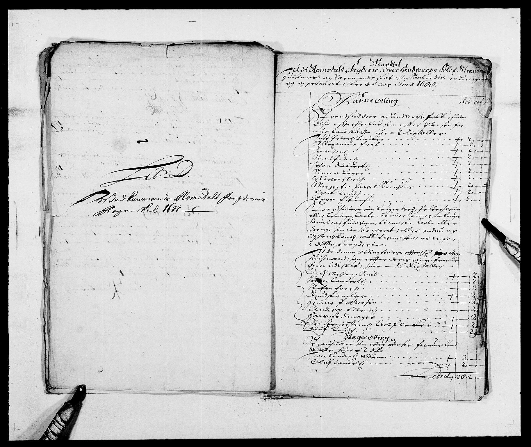 RA, Rentekammeret inntil 1814, Reviderte regnskaper, Fogderegnskap, R55/L3648: Fogderegnskap Romsdal, 1687-1689, s. 225