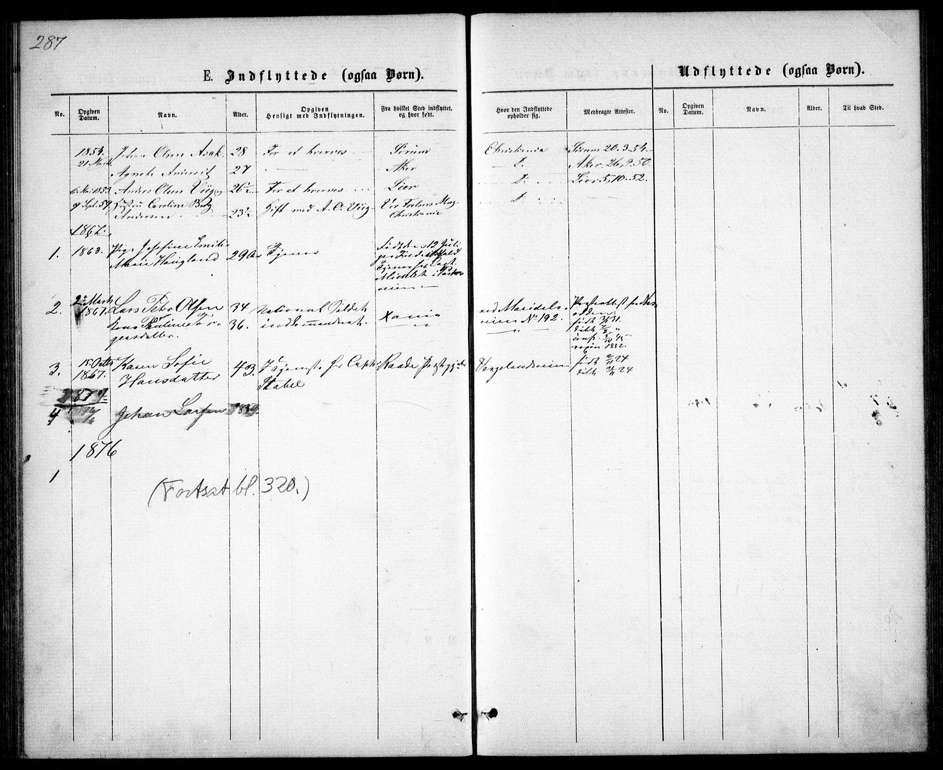 SAO, Garnisonsmenigheten Kirkebøker, G/Ga/L0006: Klokkerbok nr. 6, 1860-1880, s. 287