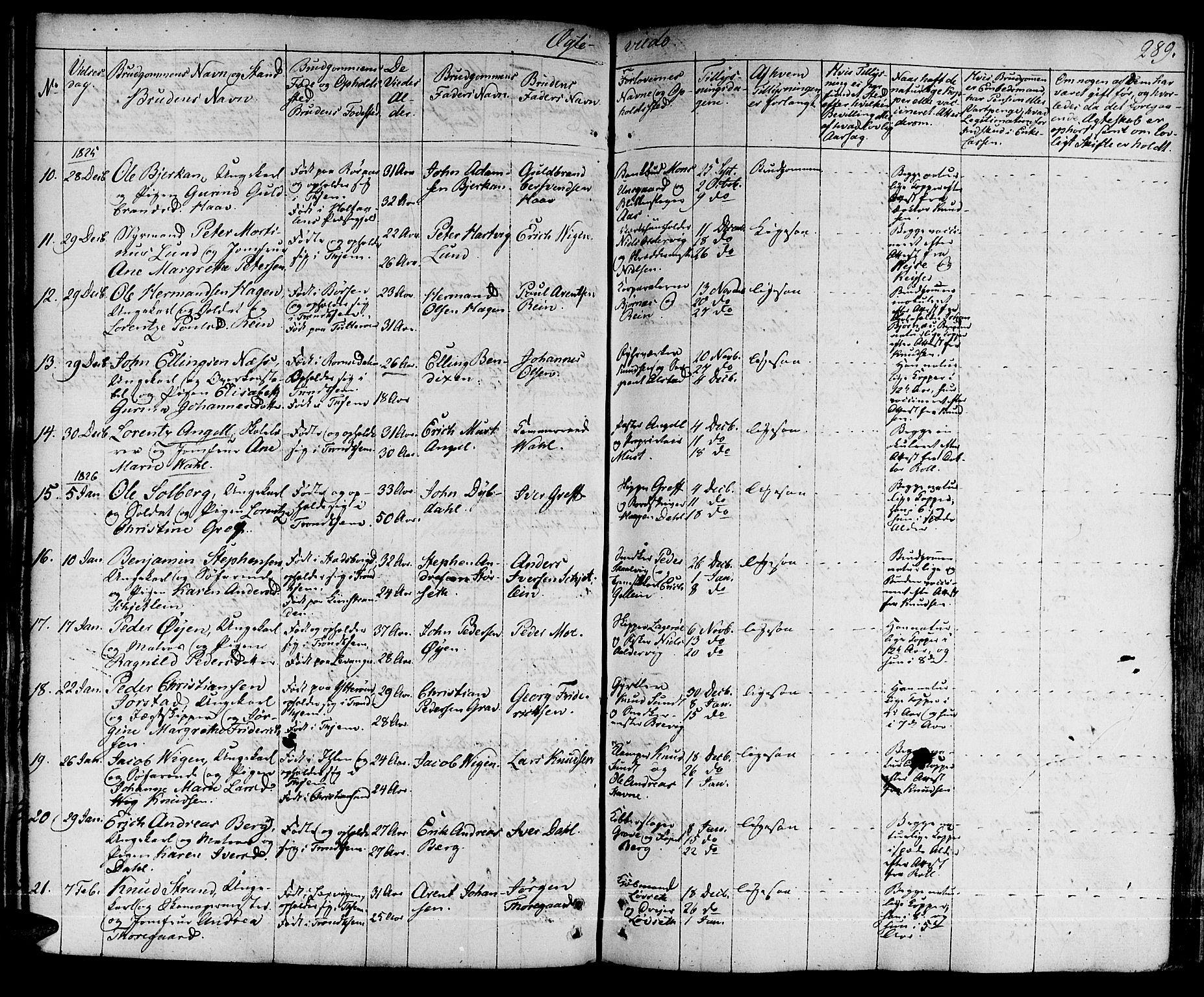 SAT, Ministerialprotokoller, klokkerbøker og fødselsregistre - Sør-Trøndelag, 601/L0045: Ministerialbok nr. 601A13, 1821-1831, s. 289