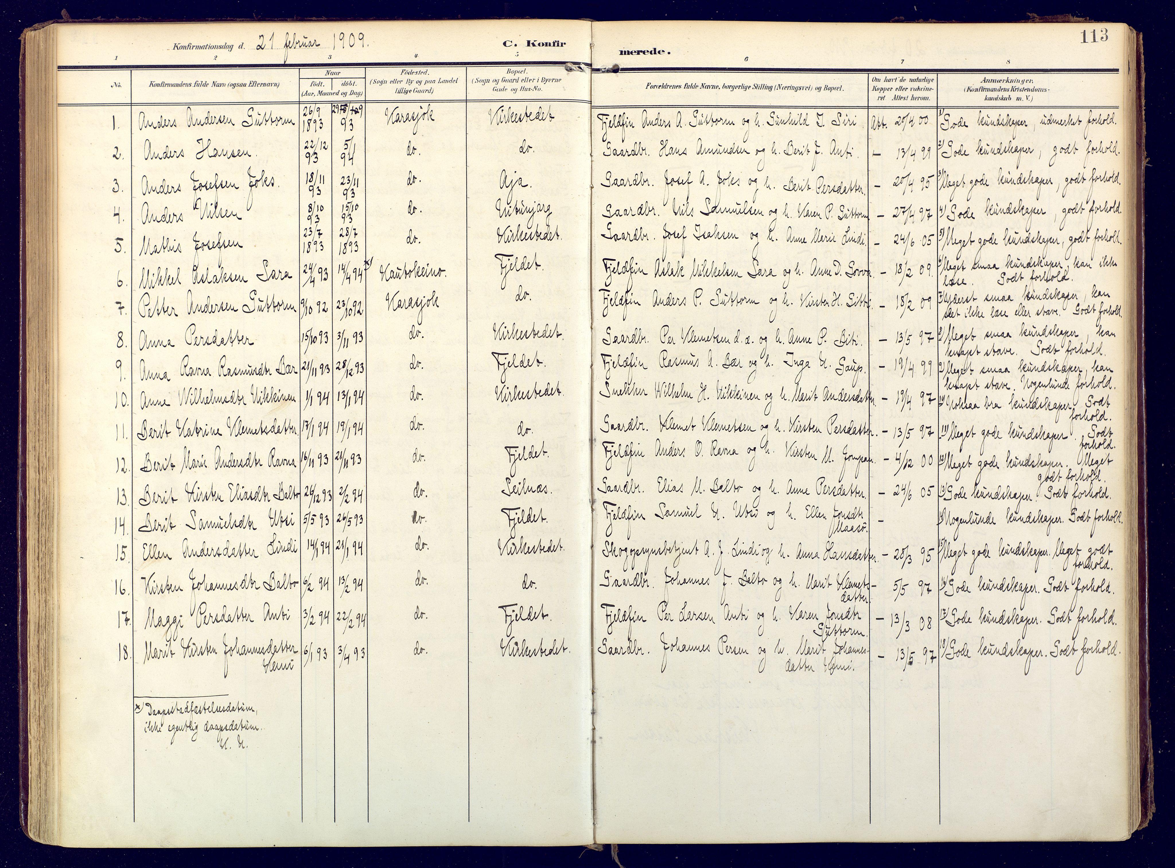 SATØ, Karasjok sokneprestkontor, H/Ha: Ministerialbok nr. 3, 1907-1926, s. 113