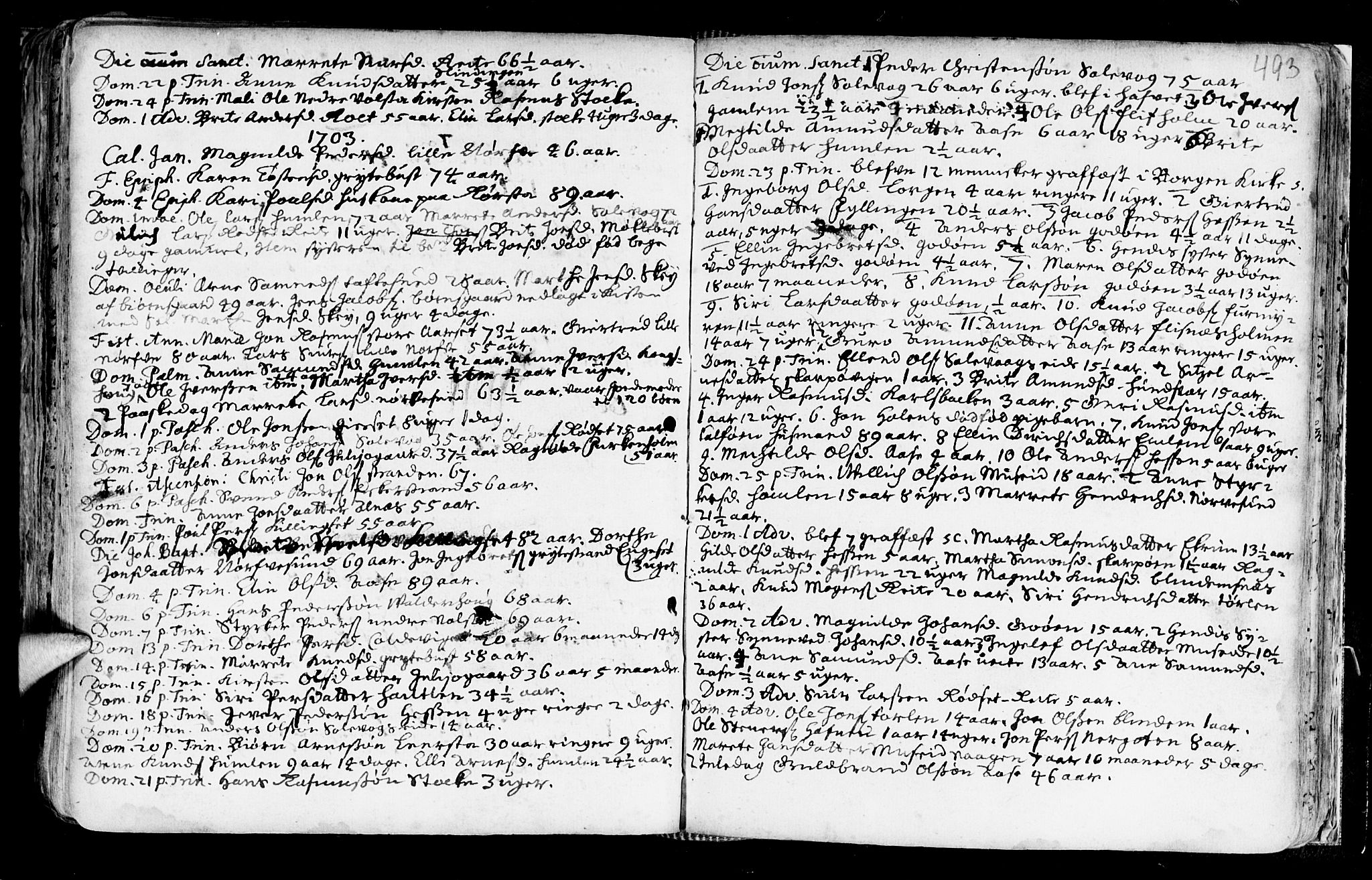 SAT, Ministerialprotokoller, klokkerbøker og fødselsregistre - Møre og Romsdal, 528/L0390: Ministerialbok nr. 528A01, 1698-1739, s. 492-493