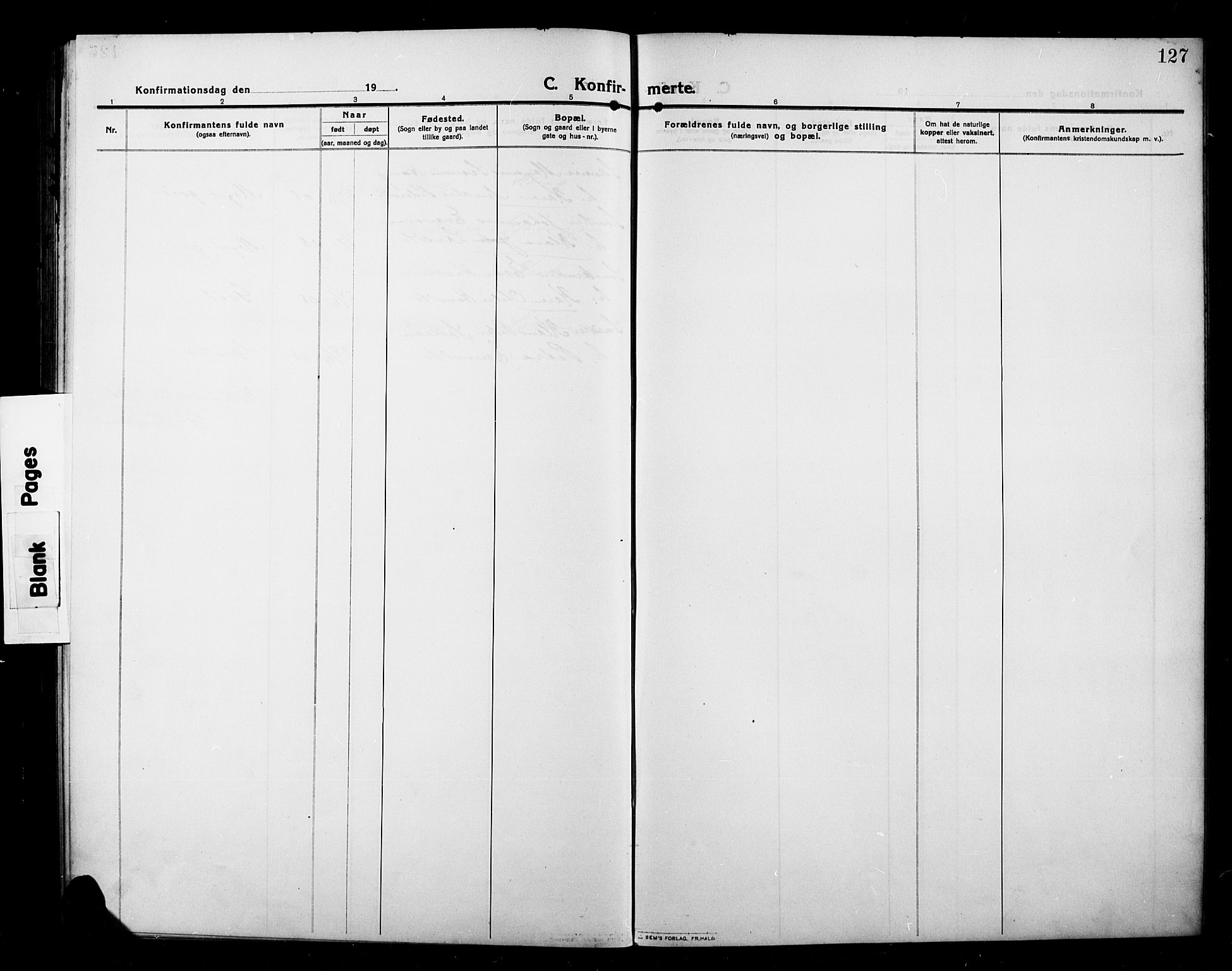 SAH, Kolbu prestekontor, Klokkerbok nr. 1, 1912-1925, s. 127