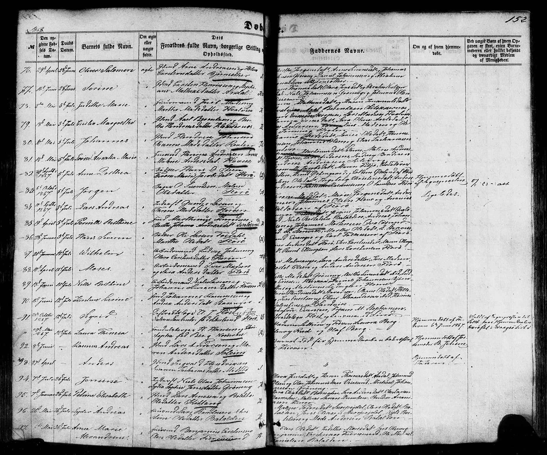 SAB, Kinn Sokneprestembete, Ministerialbok nr. A 6, 1857-1885, s. 152