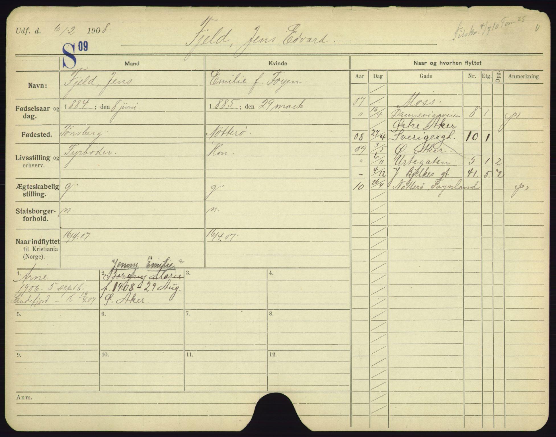 SAO, Oslo folkeregister, Registerkort, F/Fa/Fac/L0003: Menn, 1906-1914, s. 101a