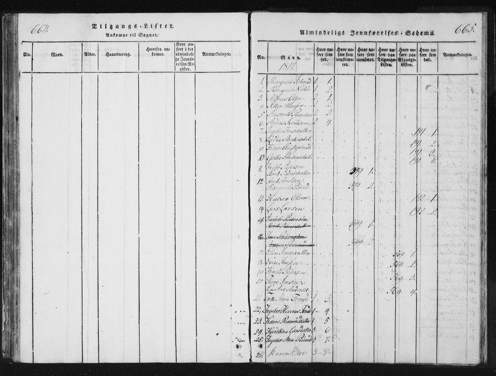 SAT, Ministerialprotokoller, klokkerbøker og fødselsregistre - Nord-Trøndelag, 744/L0417: Ministerialbok nr. 744A01, 1817-1842, s. 664-665
