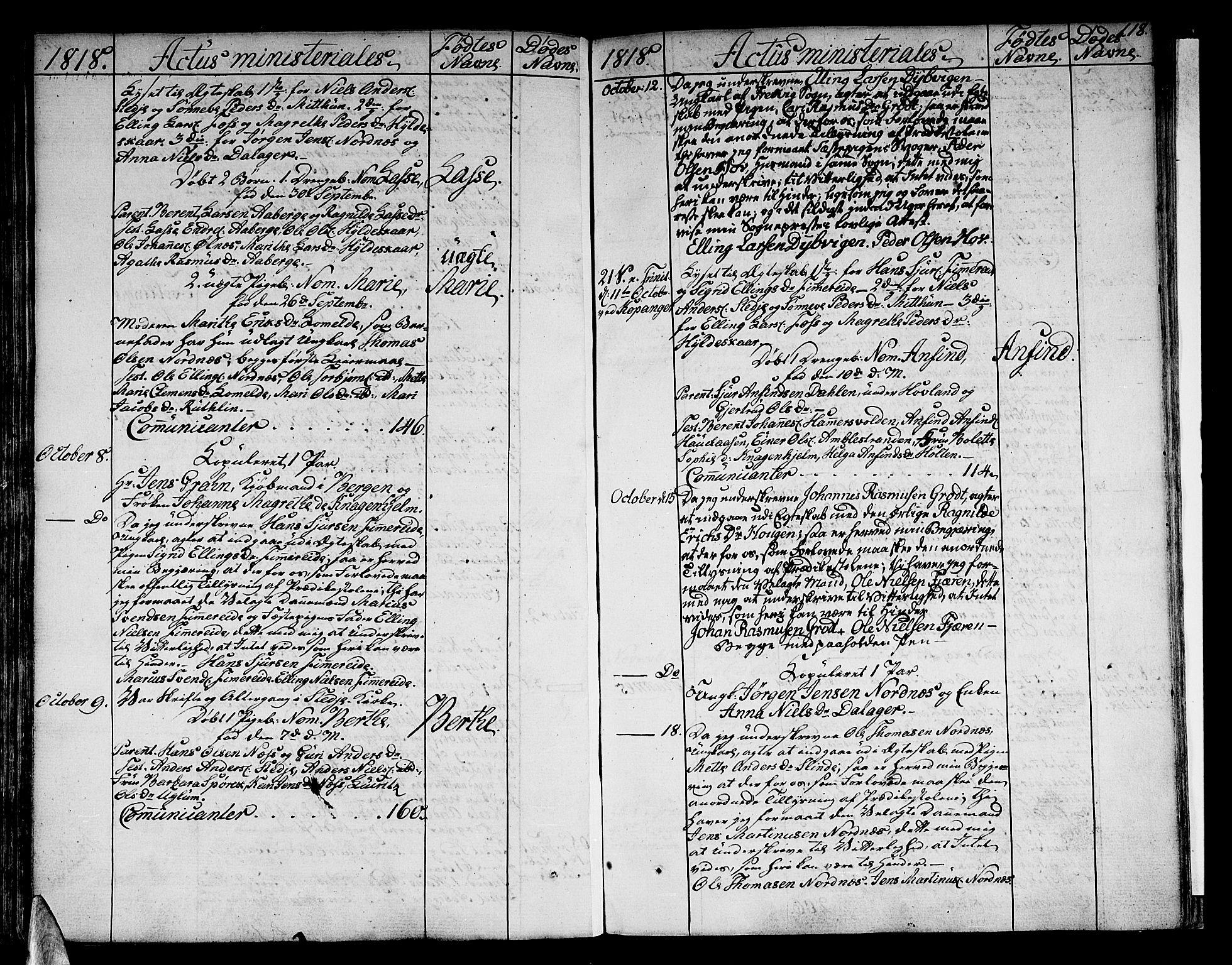 SAB, Sogndal sokneprestembete, H/Haa/Haaa/L0009: Ministerialbok nr. A 9, 1809-1821, s. 118