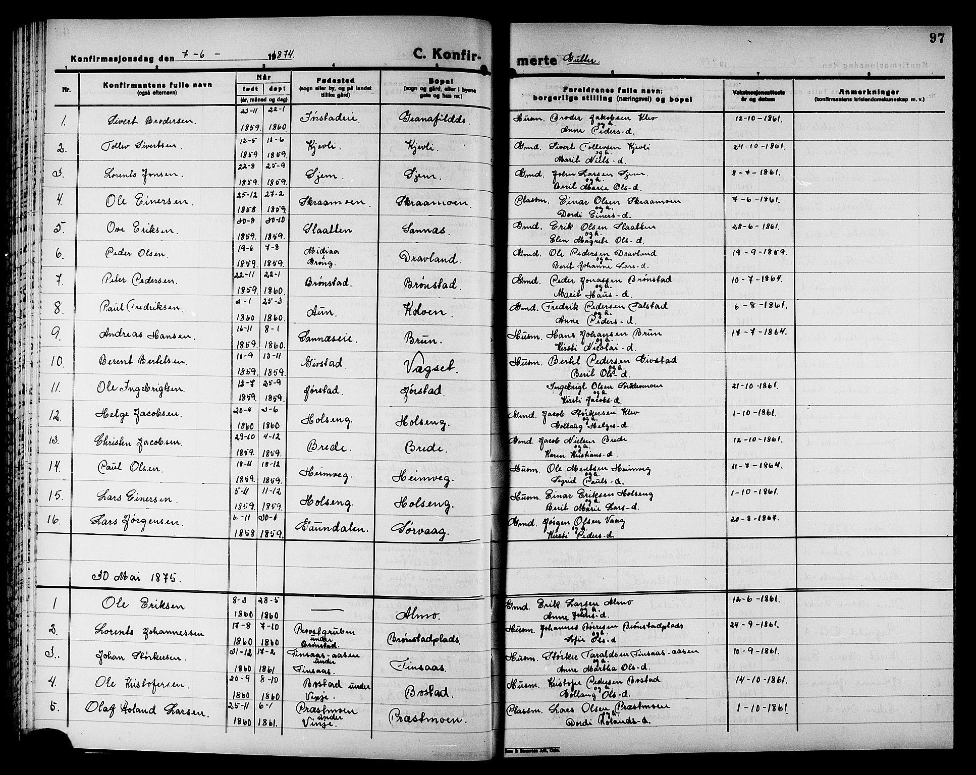 SAT, Ministerialprotokoller, klokkerbøker og fødselsregistre - Nord-Trøndelag, 749/L0486: Ministerialbok nr. 749D02, 1873-1887, s. 97