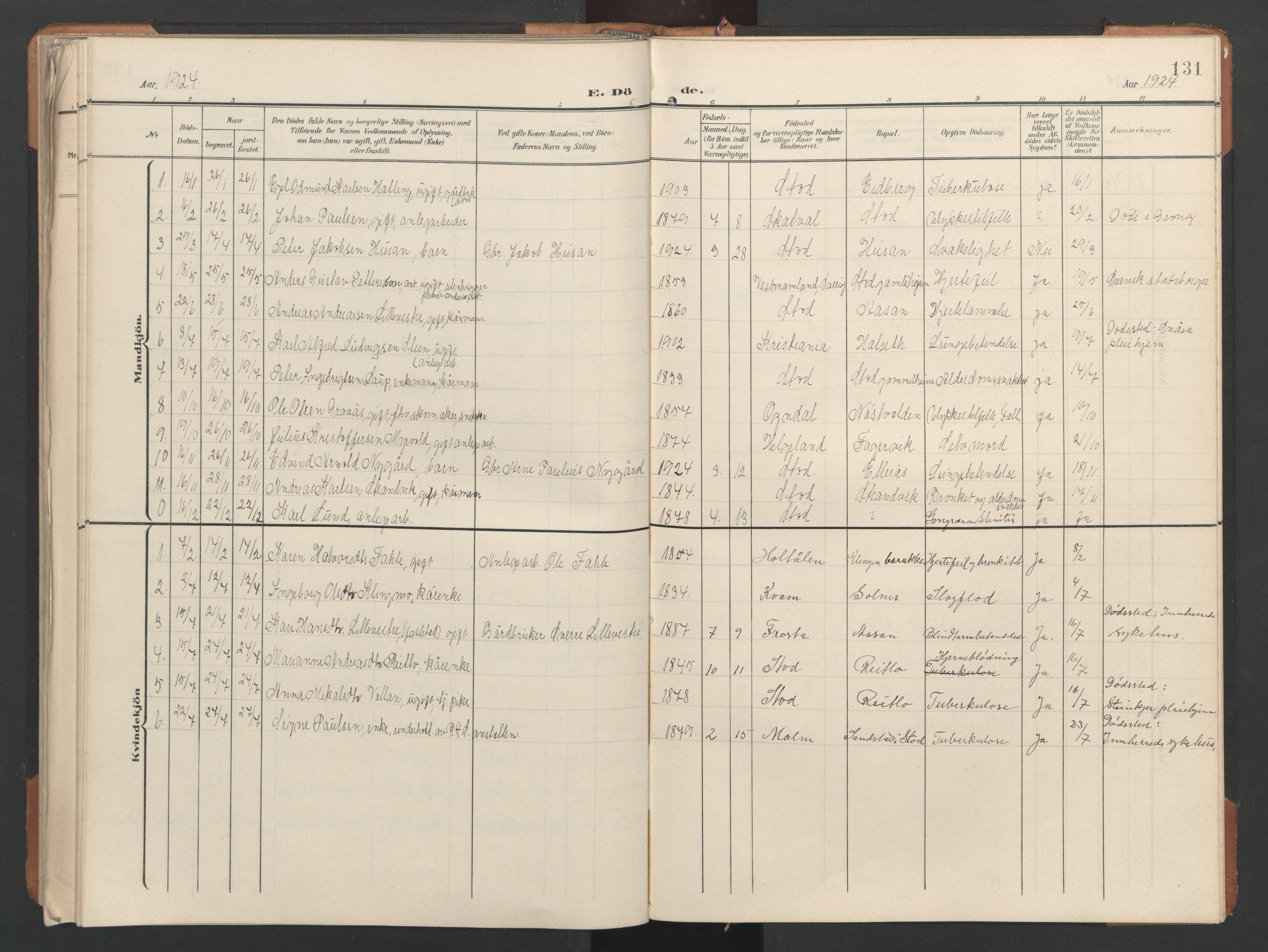 SAT, Ministerialprotokoller, klokkerbøker og fødselsregistre - Nord-Trøndelag, 746/L0455: Klokkerbok nr. 746C01, 1908-1933, s. 131