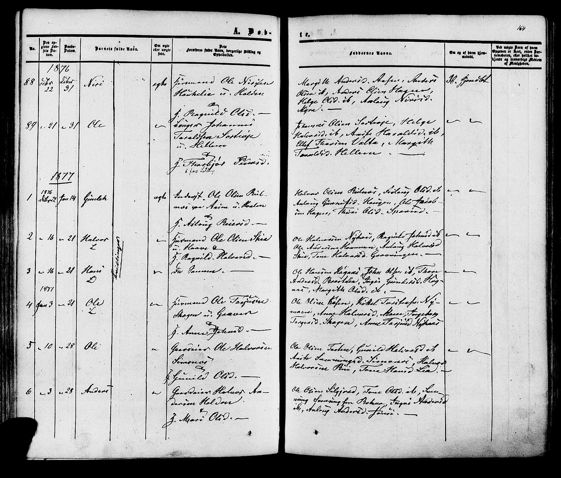 SAKO, Heddal kirkebøker, F/Fa/L0007: Ministerialbok nr. I 7, 1855-1877, s. 164