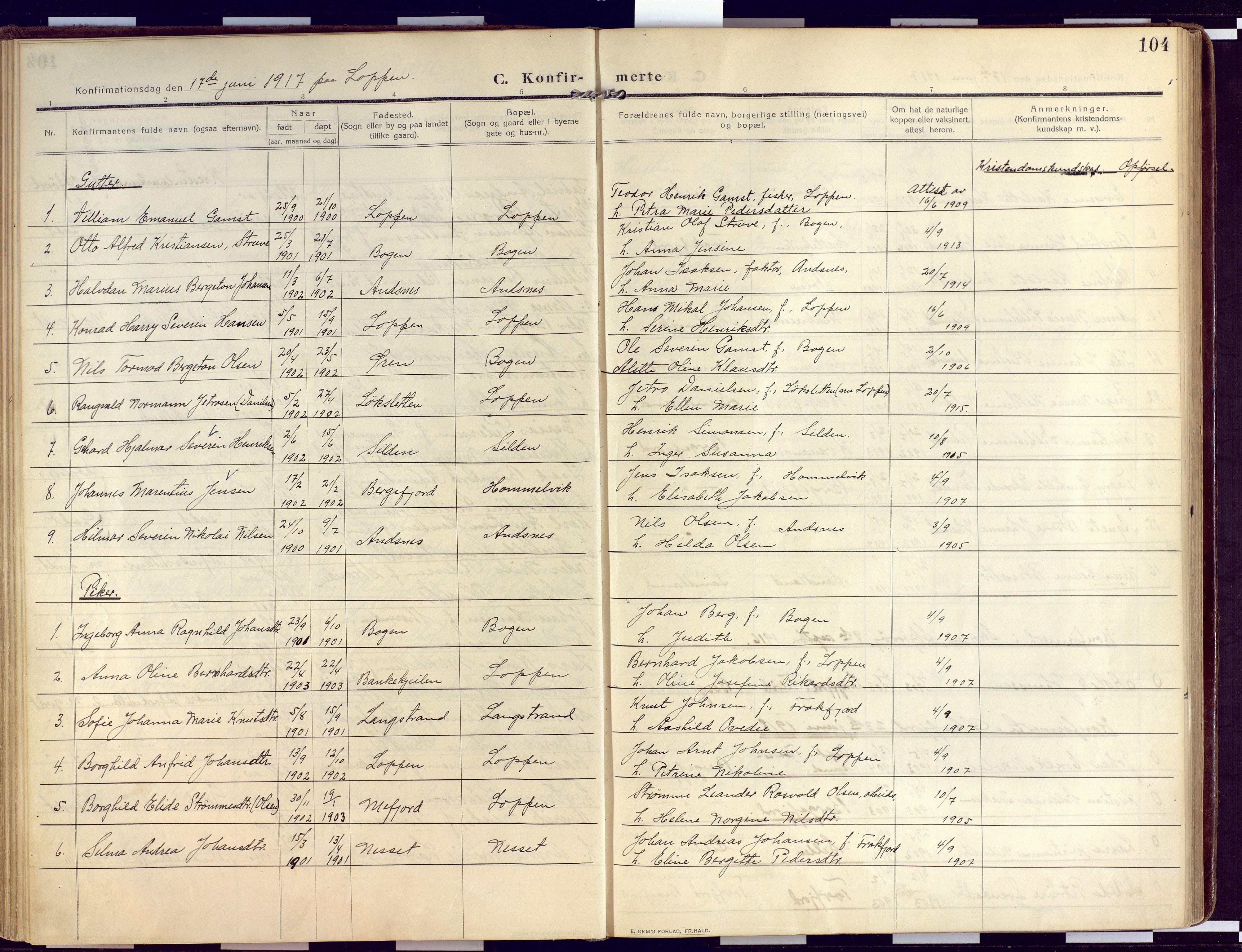 SATØ, Loppa sokneprestkontor, H/Ha/L0011kirke: Ministerialbok nr. 11, 1909-1919, s. 104