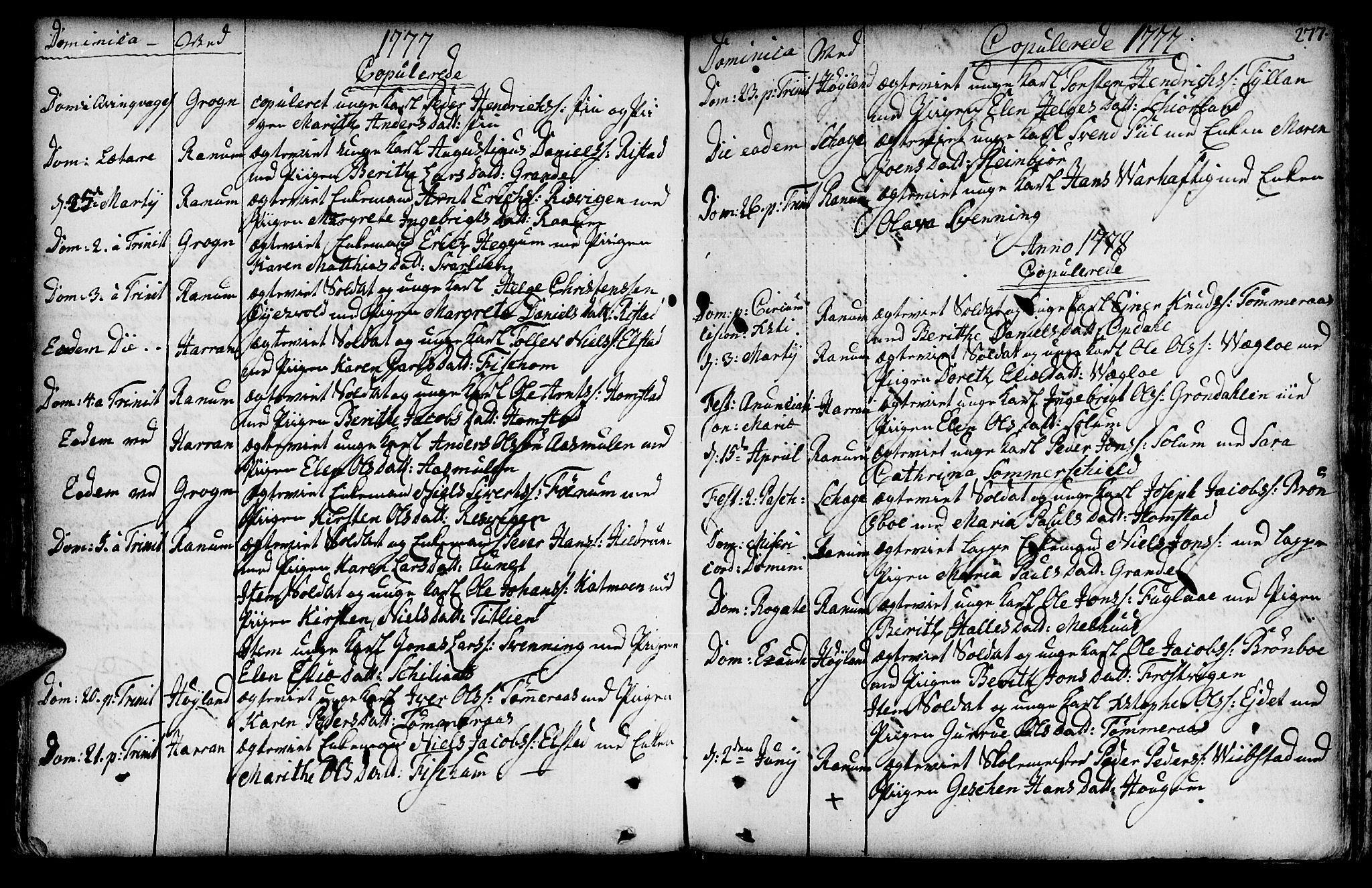 SAT, Ministerialprotokoller, klokkerbøker og fødselsregistre - Nord-Trøndelag, 764/L0542: Ministerialbok nr. 764A02, 1748-1779, s. 277