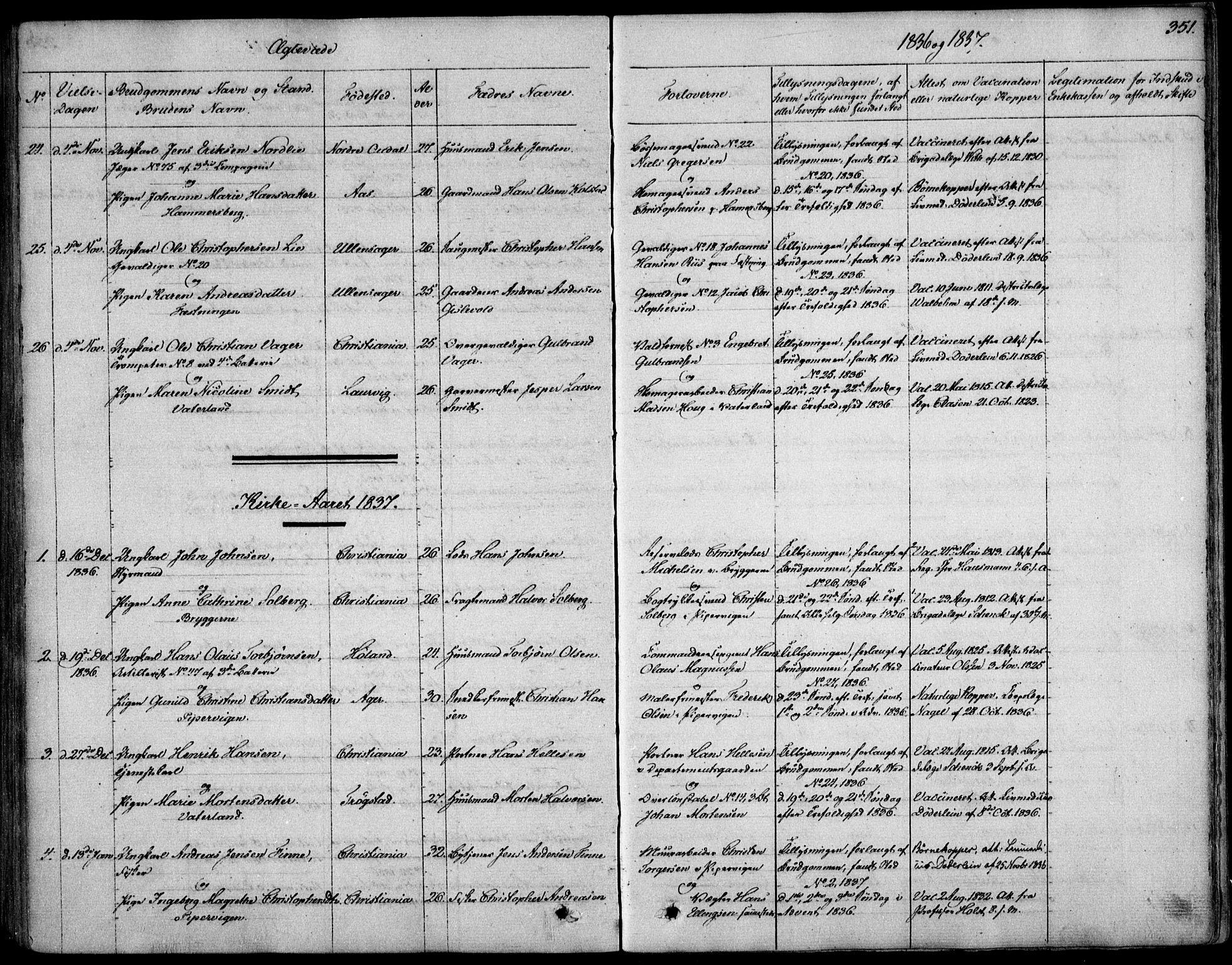 SAO, Garnisonsmenigheten Kirkebøker, F/Fa/L0006: Ministerialbok nr. 6, 1828-1841, s. 351