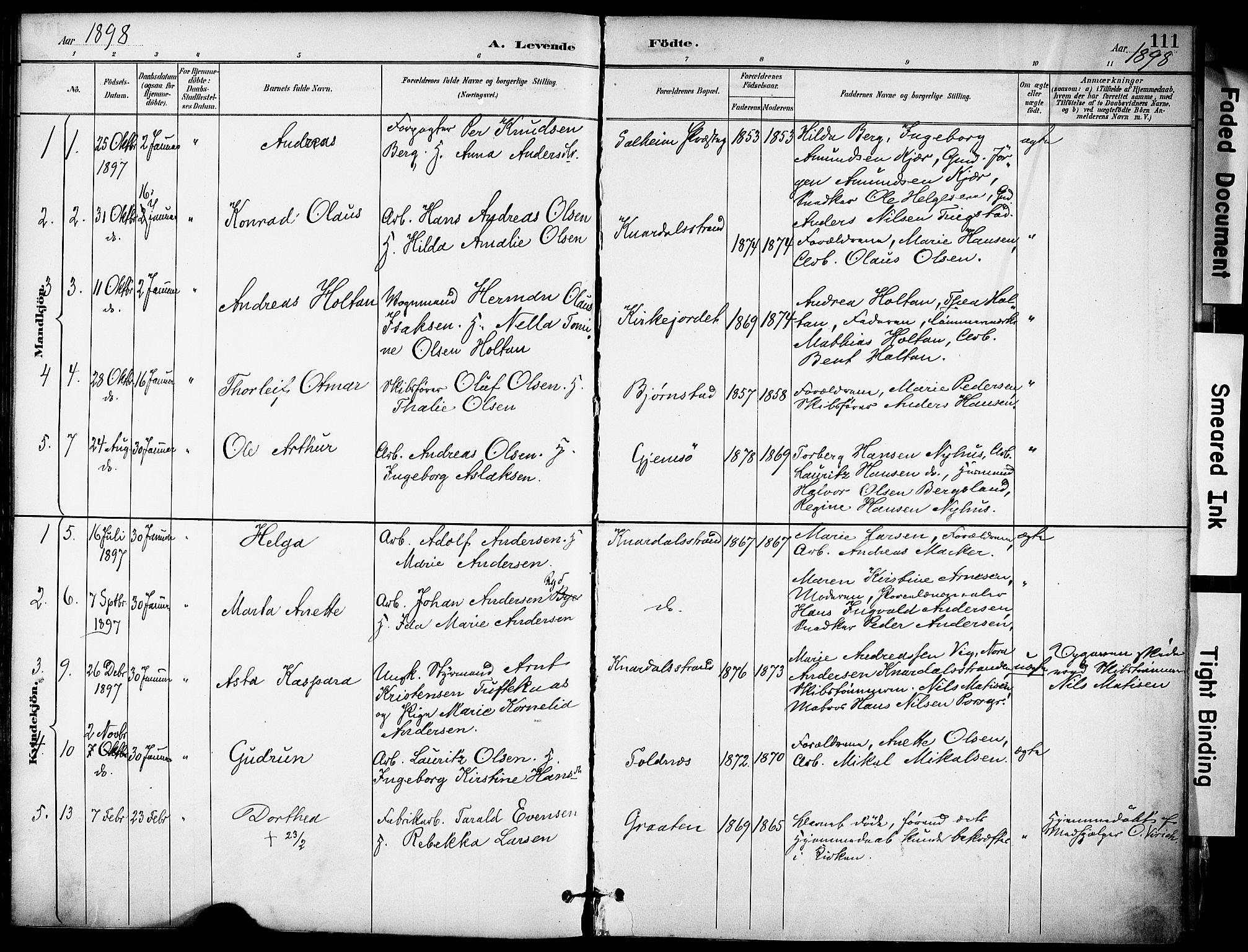 SAKO, Solum kirkebøker, F/Fa/L0010: Ministerialbok nr. I 10, 1888-1898, s. 111