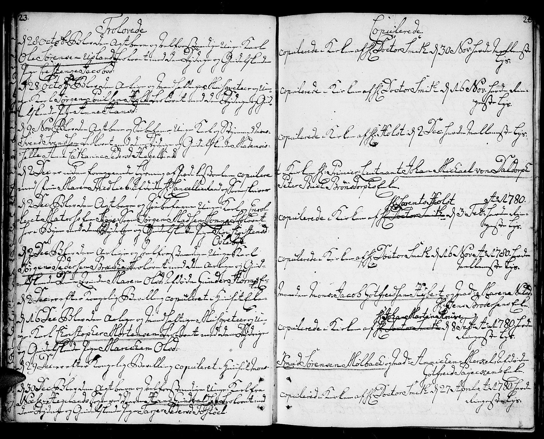 SAK, Kristiansand domprosti, F/Fa/L0005: Ministerialbok nr. A 5, 1776-1818, s. 23-24