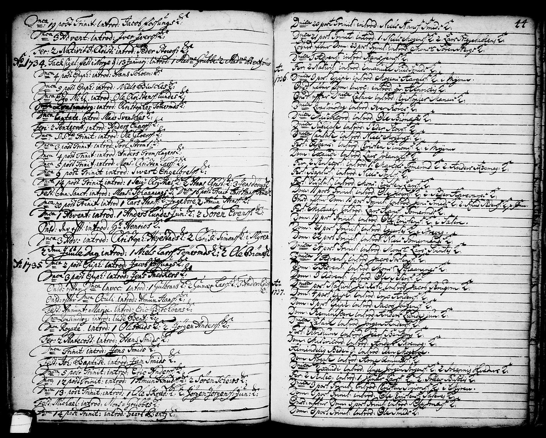 SAKO, Brevik kirkebøker, F/Fa/L0002: Ministerialbok nr. 2, 1720-1764, s. 44