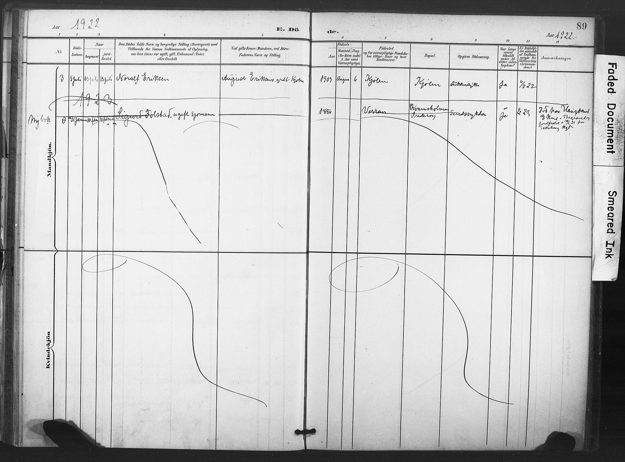 SAT, Ministerialprotokoller, klokkerbøker og fødselsregistre - Nord-Trøndelag, 719/L0179: Ministerialbok nr. 719A02, 1901-1923, s. 89