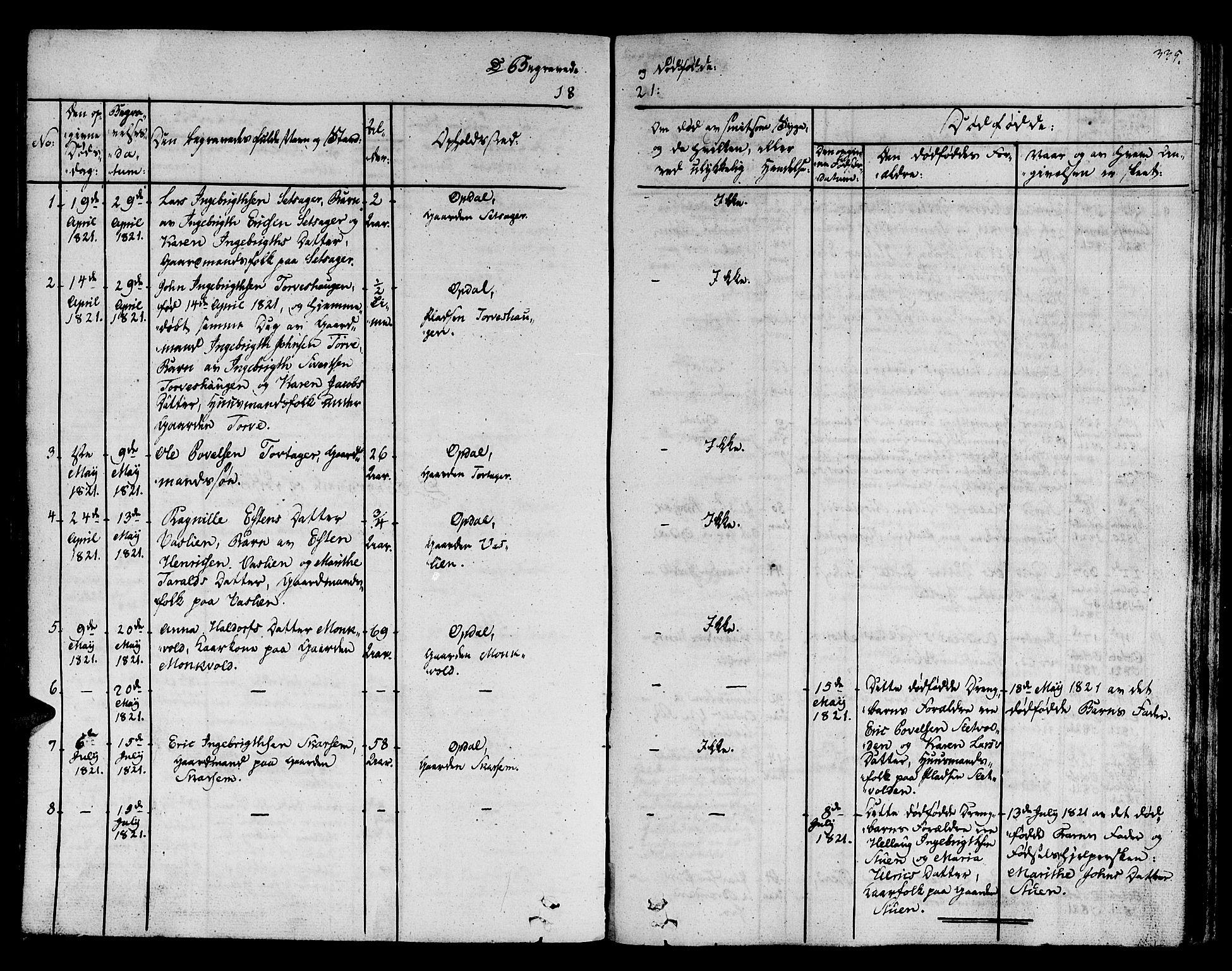 SAT, Ministerialprotokoller, klokkerbøker og fødselsregistre - Sør-Trøndelag, 678/L0897: Ministerialbok nr. 678A06-07, 1821-1847, s. 335